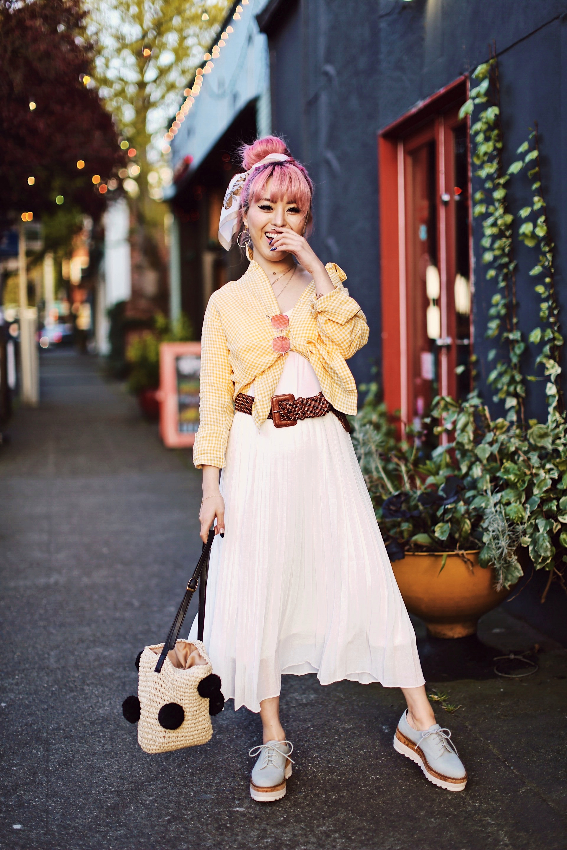 Uniqlo yellow Linen gingham shirt-Uniqlo White pleated chiffon midi skirt-Uniqlo Airism brat-pink tinted sunglasses ZERO UV-She in Pom pom Straw bucket bag-Vintage scarf bun hair style-Steve Madden Belt-Jane and the shoe denim oxford platforms-Aika's Love Closet-seattle fashion style blogger-Japanese-pink hair-smiling-spring fashion 3