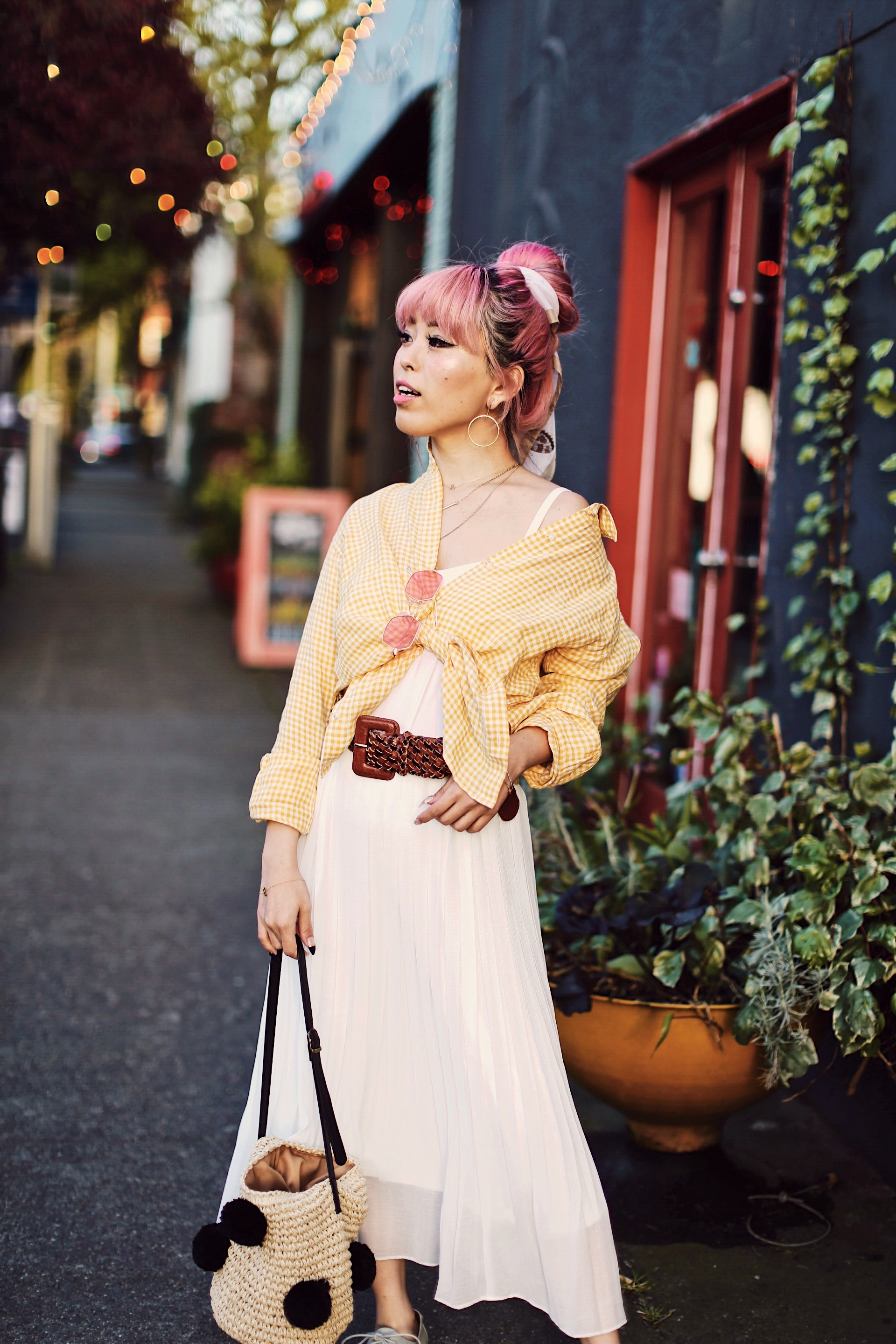Uniqlo yellow Linen gingham shirt-Uniqlo White pleated chiffon midi skirt-Uniqlo Airism brat-pink tinted sunglasses ZERO UV-She in Pom pom Straw bucket bag-Vintage scarf bun hair style-Steve Madden Belt-Jane and the shoe denim oxford platforms-Aika's Love Closet-seattle fashion style blogger-Japanese-pink hair-smiling-spring fashion 4