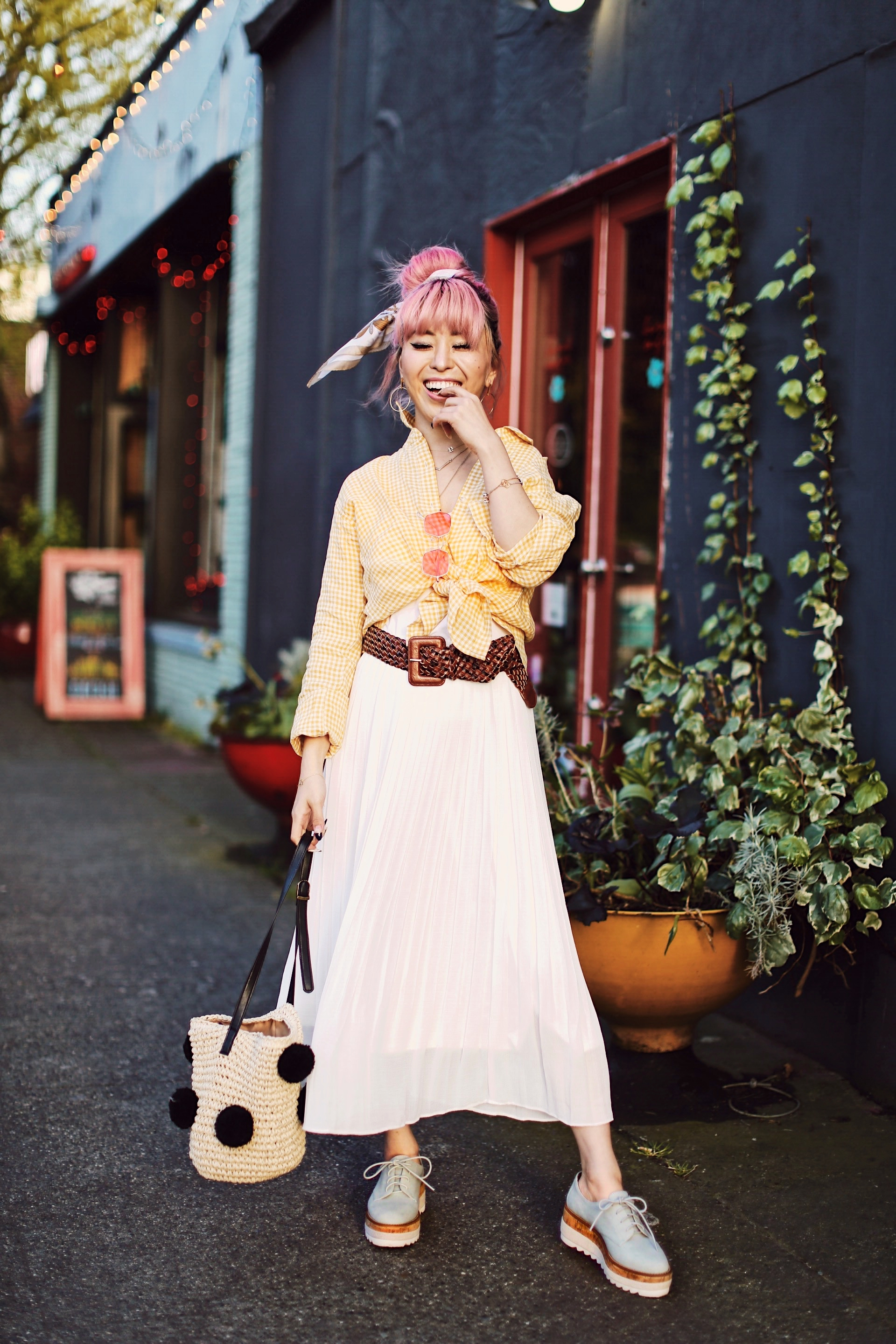 Uniqlo yellow Linen gingham shirt-Uniqlo White pleated chiffon midi skirt-Uniqlo Airism brat-pink tinted sunglasses ZERO UV-She in Pom pom Straw bucket bag-Vintage scarf bun hair style-Steve Madden Belt-Jane and the shoe denim oxford platforms-Aika's Love Closet-seattle fashion style blogger-Japanese-pink hair-smiling-spring fashion 7