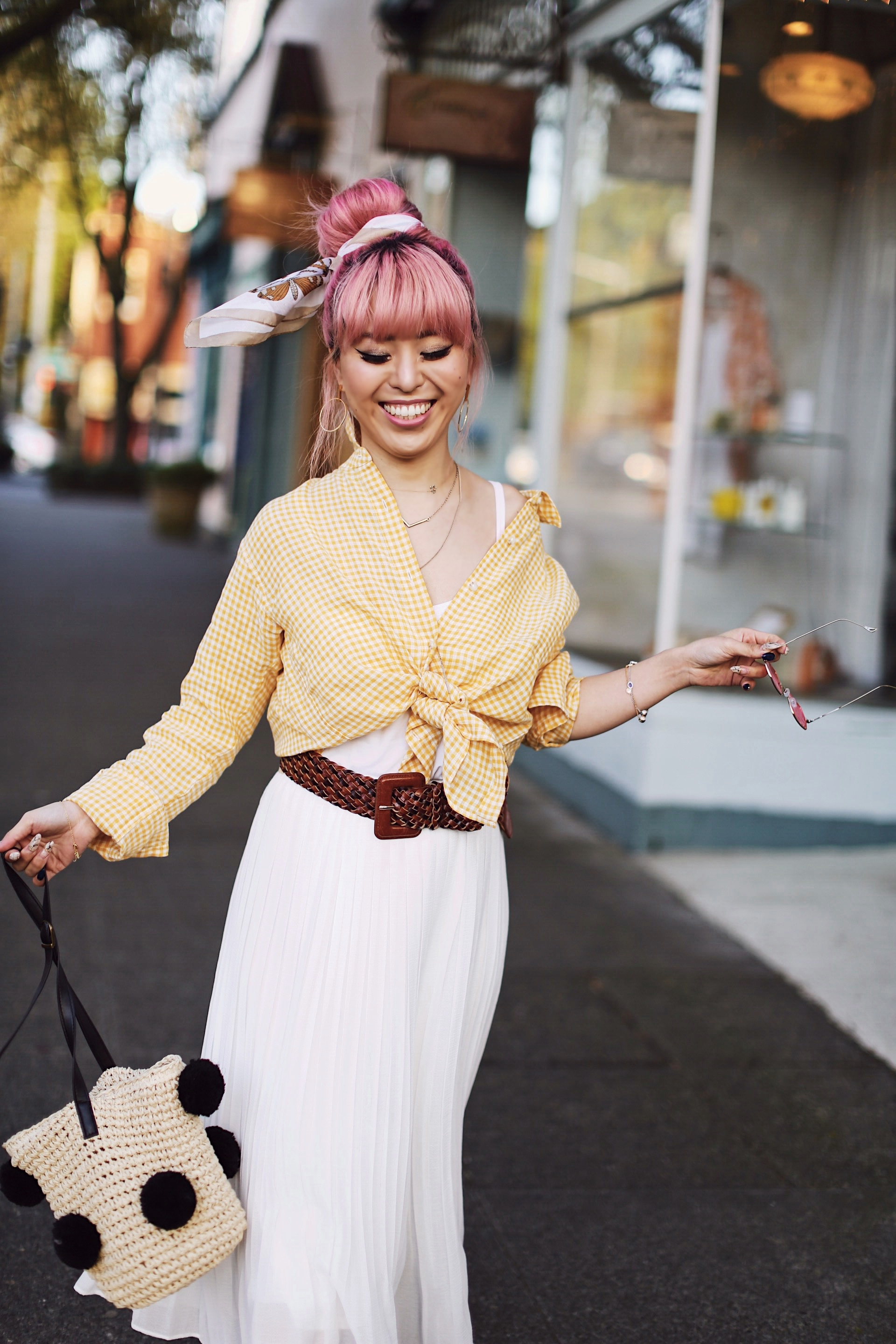 Uniqlo yellow Linen gingham shirt-Uniqlo White pleated chiffon midi skirt-Uniqlo Airism brat-pink tinted sunglasses ZERO UV-She in Pom pom Straw bucket bag-Vintage scarf bun hair style-Steve Madden Belt-Jane and the shoe denim oxford platforms-Aika's Love Closet-seattle fashion style blogger-Japanese-pink hair-smiling-spring fashion 12