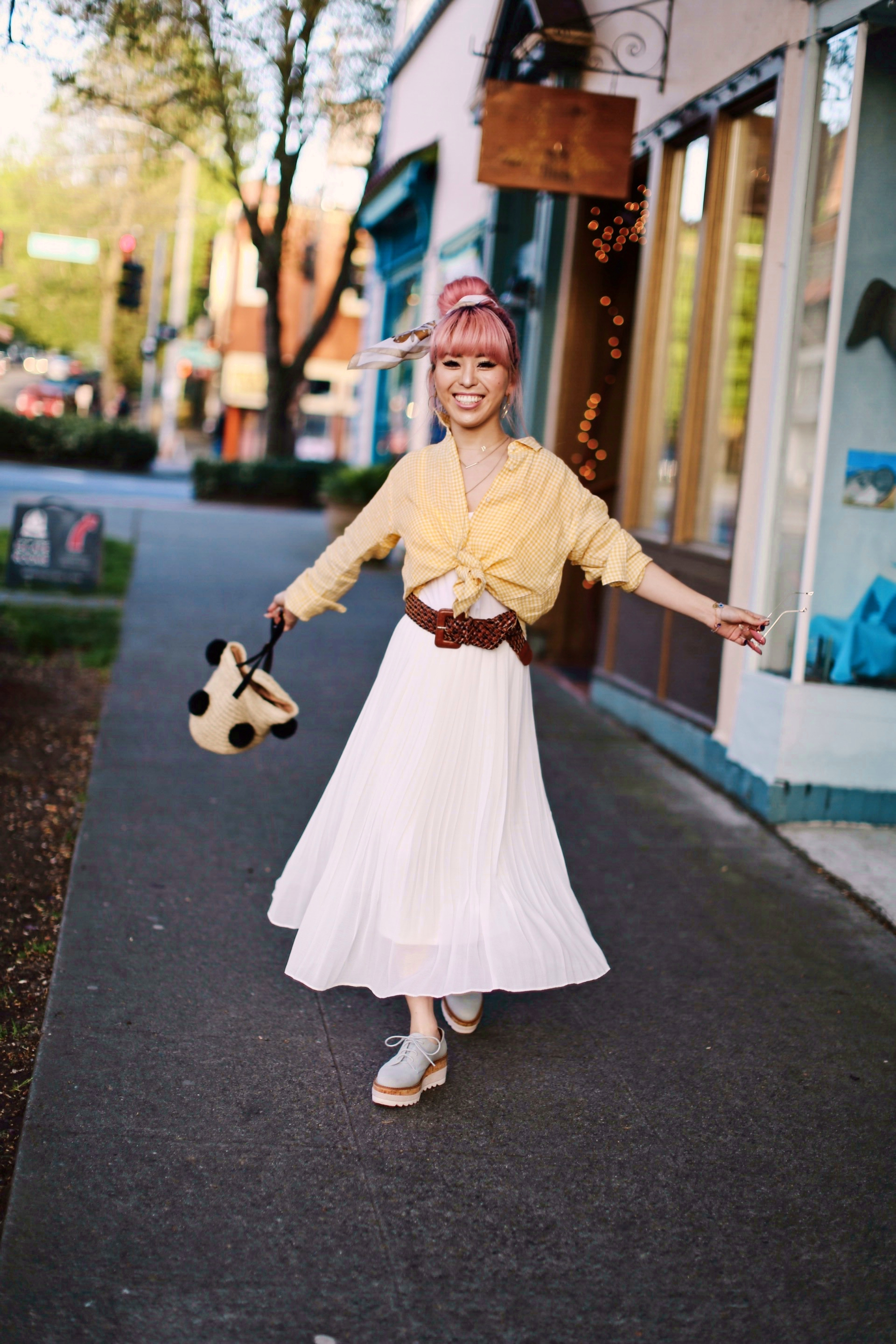 Uniqlo yellow Linen gingham shirt-Uniqlo White pleated chiffon midi skirt-Uniqlo Airism brat-pink tinted sunglasses ZERO UV-She in Pom pom Straw bucket bag-Vintage scarf bun hair style-Steve Madden Belt-Jane and the shoe denim oxford platforms-Aika's Love Closet-seattle fashion style blogger-Japanese-pink hair-smiling-spring fashion 13