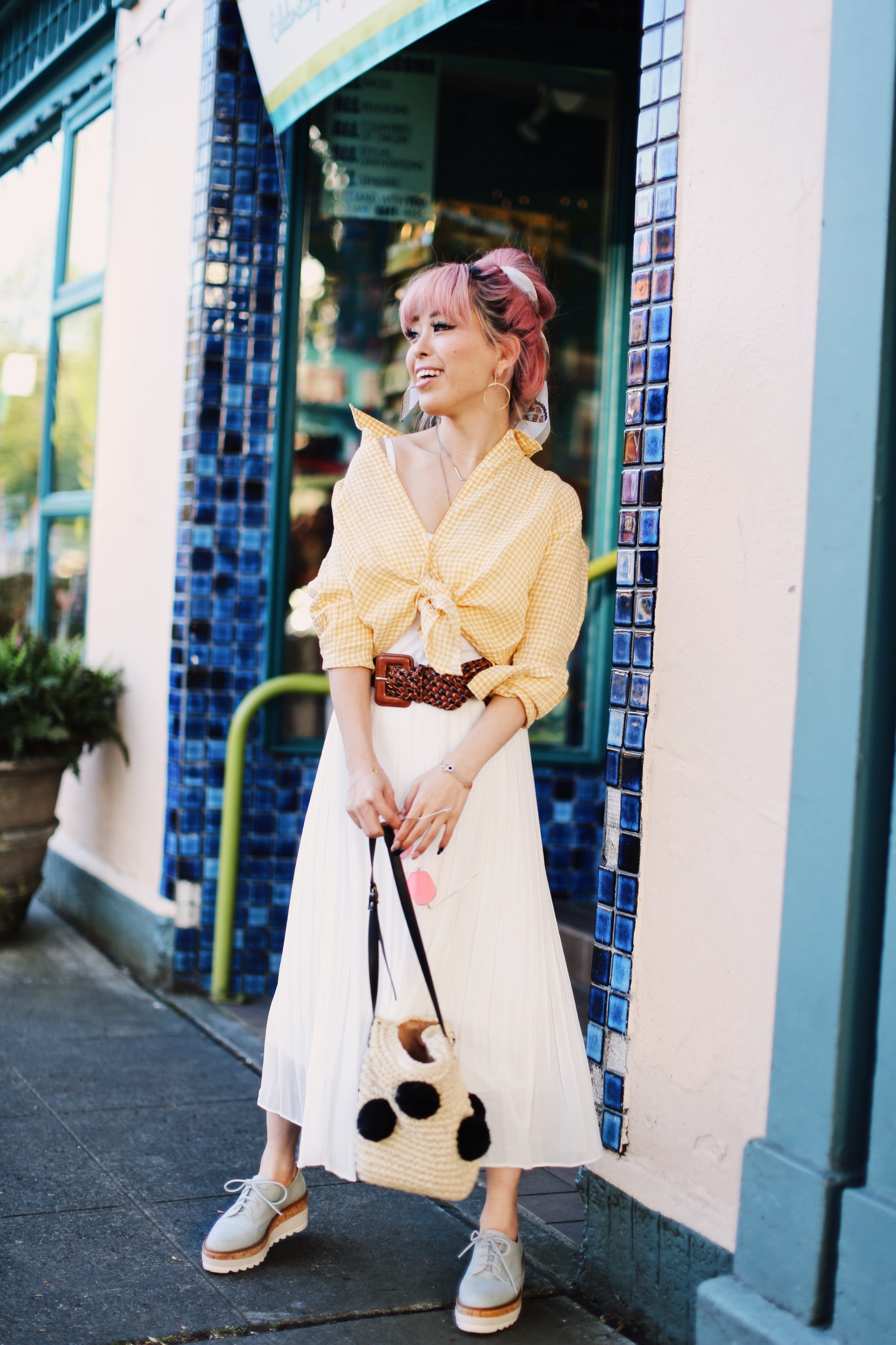 Uniqlo yellow Linen gingham shirt-Uniqlo White pleated chiffon midi skirt-Uniqlo Airism brat-pink tinted sunglasses ZERO UV-She in Pom pom Straw bucket bag-Vintage scarf bun hair style-Steve Madden Belt-Jane and the shoe denim oxford platforms-Aika's Love Closet-seattle fashion style blogger-Japanese-pink hair-smiling-spring fashion 15