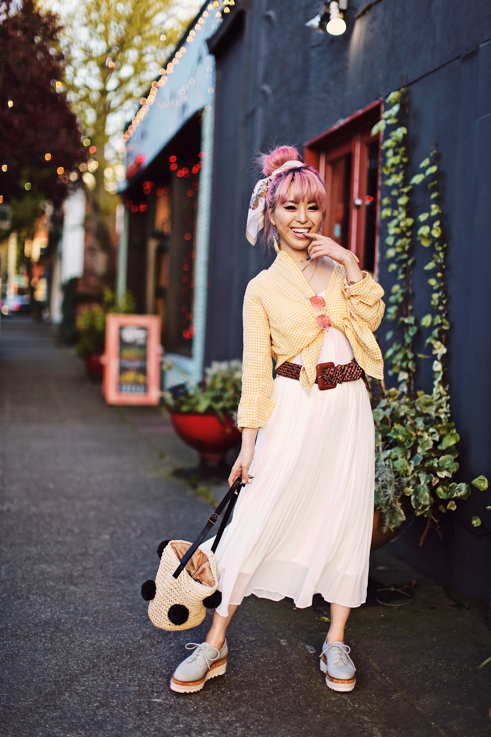 Uniqlo yellow Linen gingham shirt-Uniqlo White pleated chiffon midi skirt-Uniqlo Airism brat-pink tinted sunglasses ZERO UV-She in Pom pom Straw bucket bag-Vintage scarf bun hair style-Steve Madden Belt-Jane and the shoe denim oxford platforms-Aika's Love Closet-seattle fashion style blogger-Japanese-pink hair-smiling-spring fashion 17