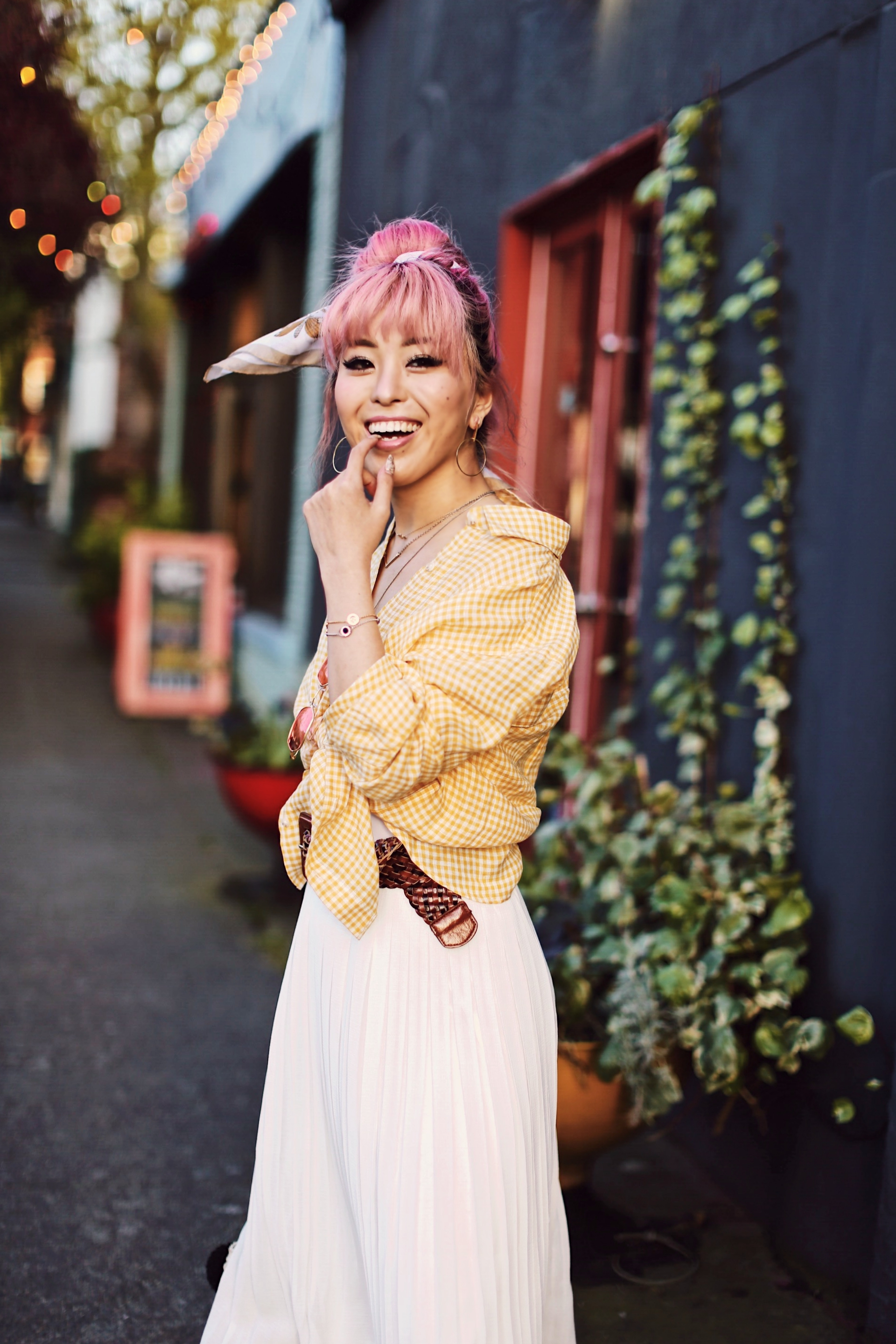 Uniqlo yellow Linen gingham shirt-Uniqlo White pleated chiffon midi skirt-Uniqlo Airism brat-pink tinted sunglasses ZERO UV-She in Pom pom Straw bucket bag-Vintage scarf bun hair style-Steve Madden Belt-Jane and the shoe denim oxford platforms-Aika's Love Closet-seattle fashion style blogger-Japanese-pink hair-smiling-spring fashion 18