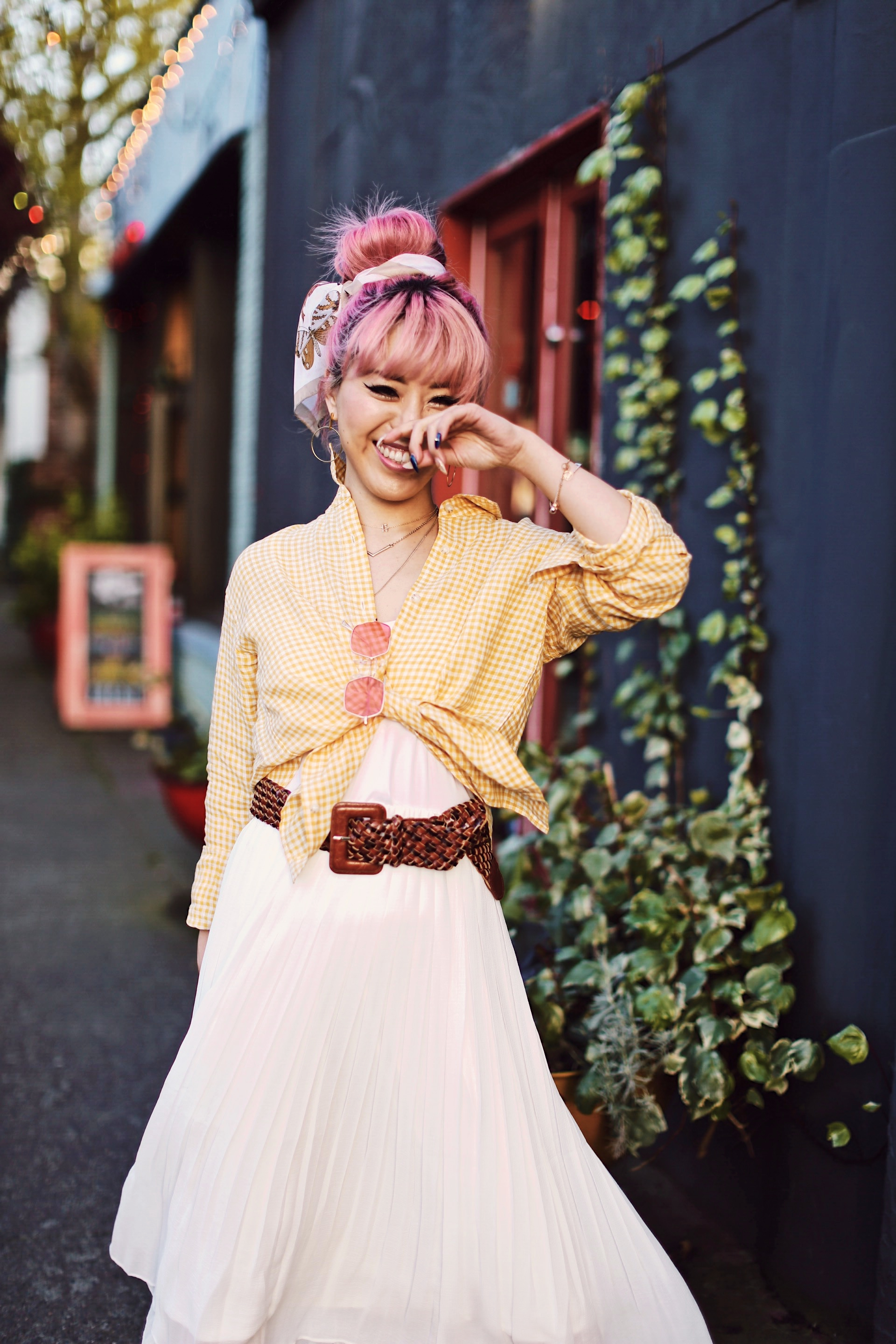 Uniqlo yellow Linen gingham shirt-Uniqlo White pleated chiffon midi skirt-Uniqlo Airism brat-pink tinted sunglasses ZERO UV-She in Pom pom Straw bucket bag-Vintage scarf bun hair style-Steve Madden Belt-Jane and the shoe denim oxford platforms-Aika's Love Closet-seattle fashion style blogger-Japanese-pink hair-smiling-spring fashion 19