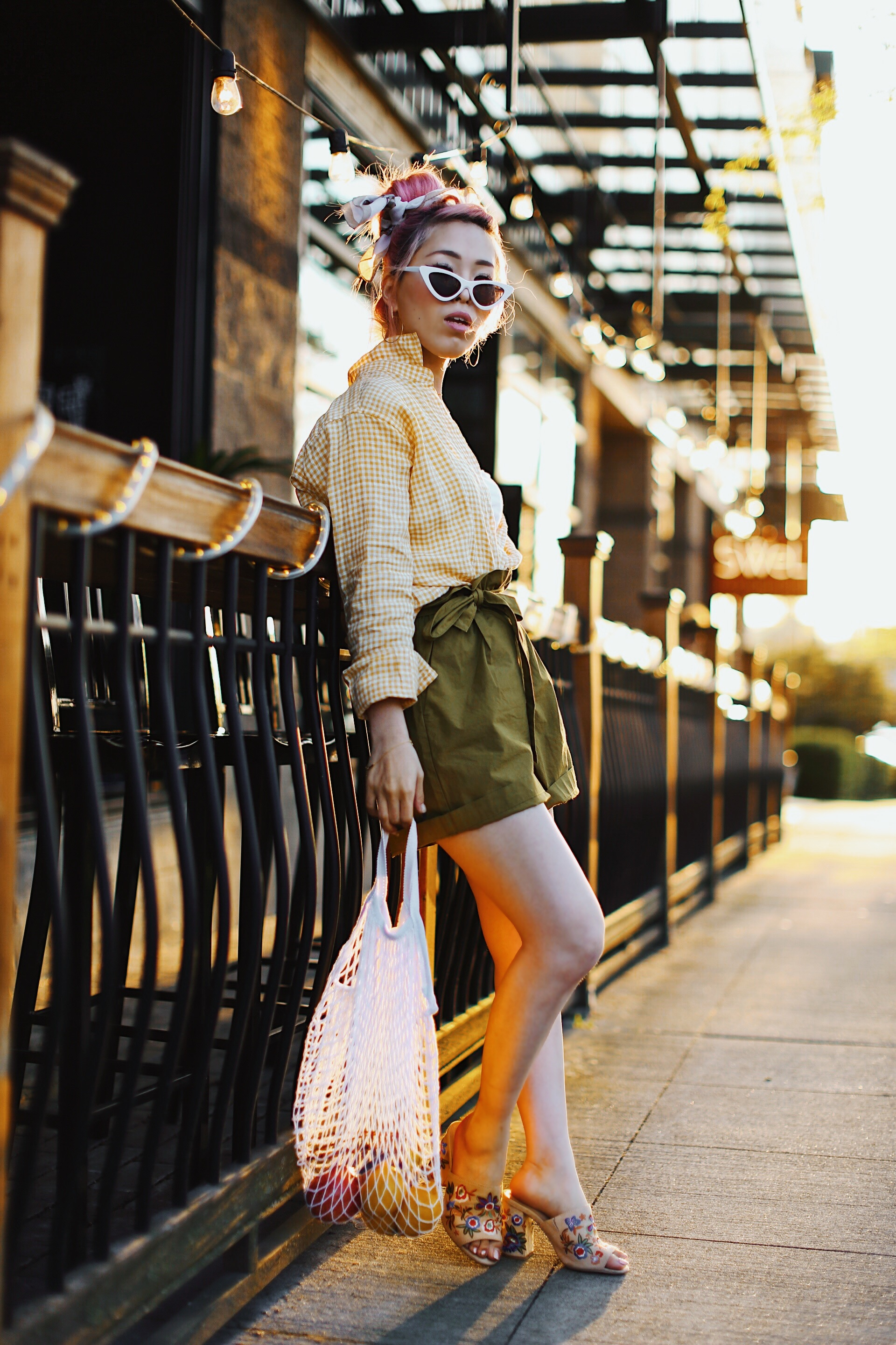 Uniqlo yellow Linen gingham shirt-Uniqlo olive paperbag shorts-Uniqlo Airism bratop-White Cat eye sunglasses ZERO UV- Pipe + Row White net bag-Vintage scarf bun hairstyle-ALDO Embroidered Nude mules-Aika's Love Closet-seattle fashion style blogger-Japanese-pink hair-smiling-spring fashion 6