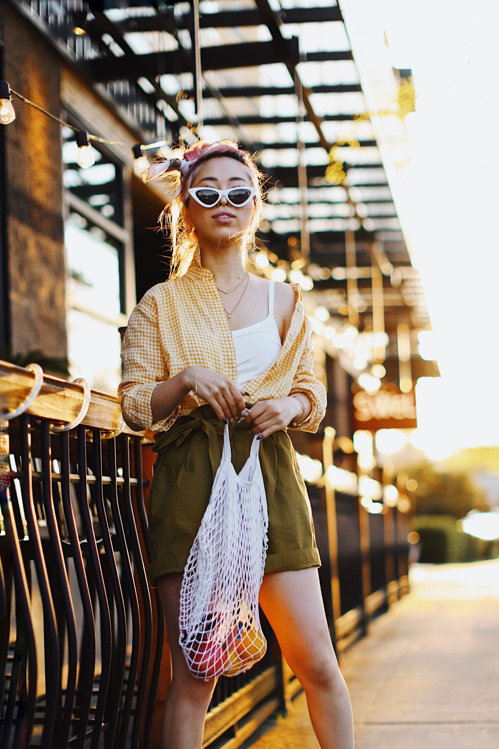 Uniqlo yellow Linen gingham shirt-Uniqlo olive paperbag shorts-Uniqlo Airism bratop-White Cat eye sunglasses ZERO UV- Pipe + Row White net bag-Vintage scarf bun hairstyle-ALDO Embroidered Nude mules-Aika's Love Closet-seattle fashion style blogger-Japanese-pink hair-smiling-spring fashion 8