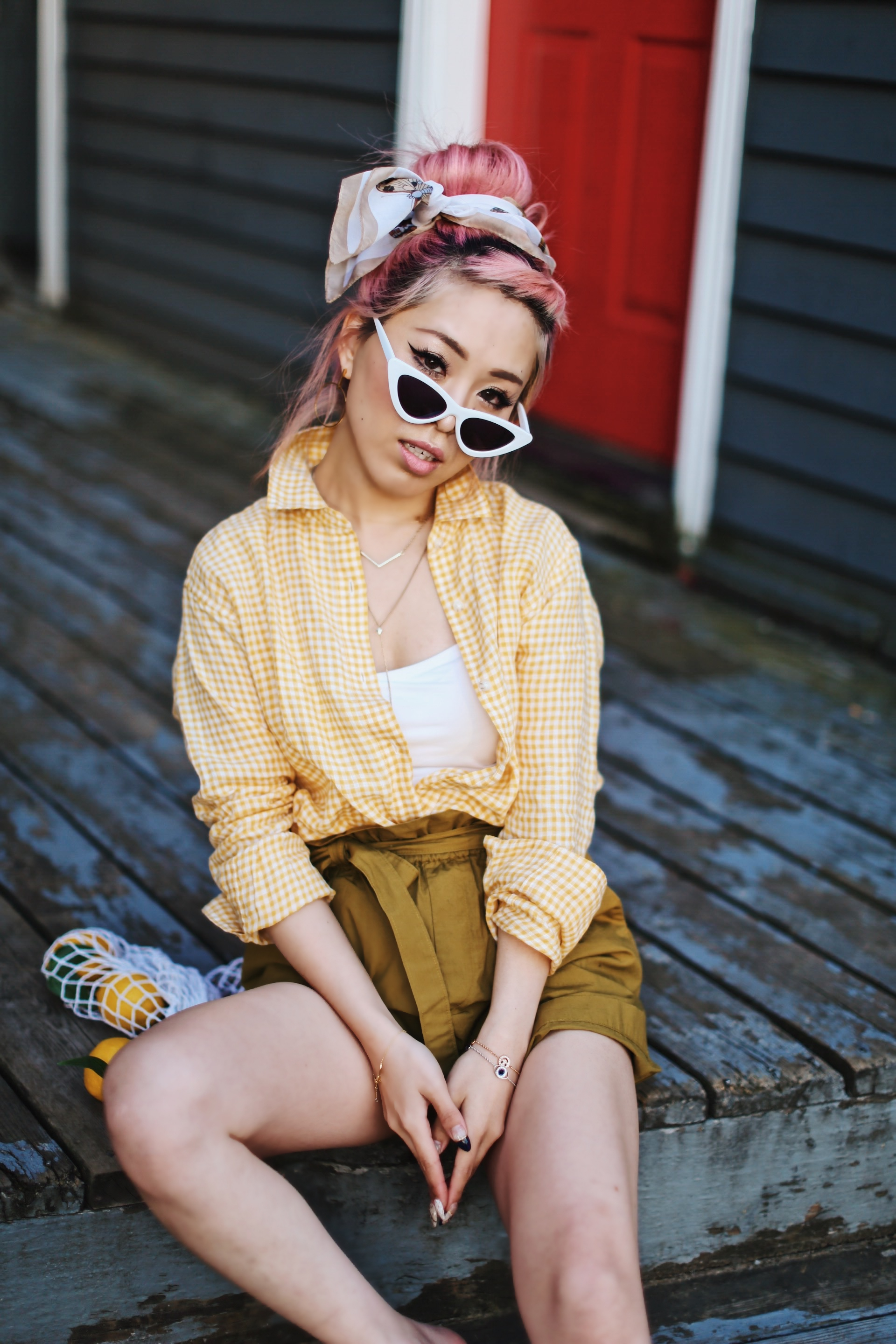 Uniqlo yellow Linen gingham shirt-Uniqlo olive paperbag shorts-Uniqlo Airism bratop-White Cat eye sunglasses ZERO UV- Pipe + Row White net bag-Vintage scarf bun hairstyle-ALDO Embroidered Nude mules-Aika's Love Closet-seattle fashion style blogger-Japanese-pink hair-smiling-spring fashion 10