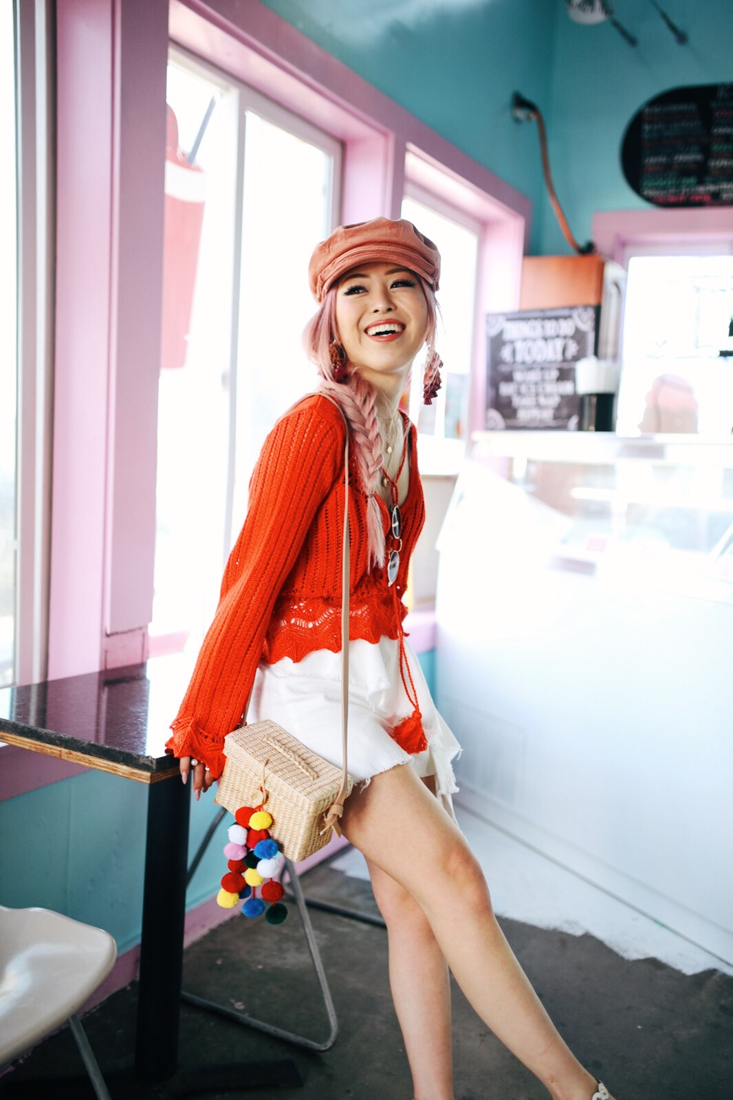 River Island Pink cord baker boy hat-Pink ombre tassel drop earrings-Red crotchet knit tassel crop top-White frill denim skort-White scallop block heel sandals-Shein Straw box bag with pom pom-Aikas Love Closet-Seattle Style Fashion Blogger-Japanese-Pink Hair-Side fishtail braid-summer style-smile 3