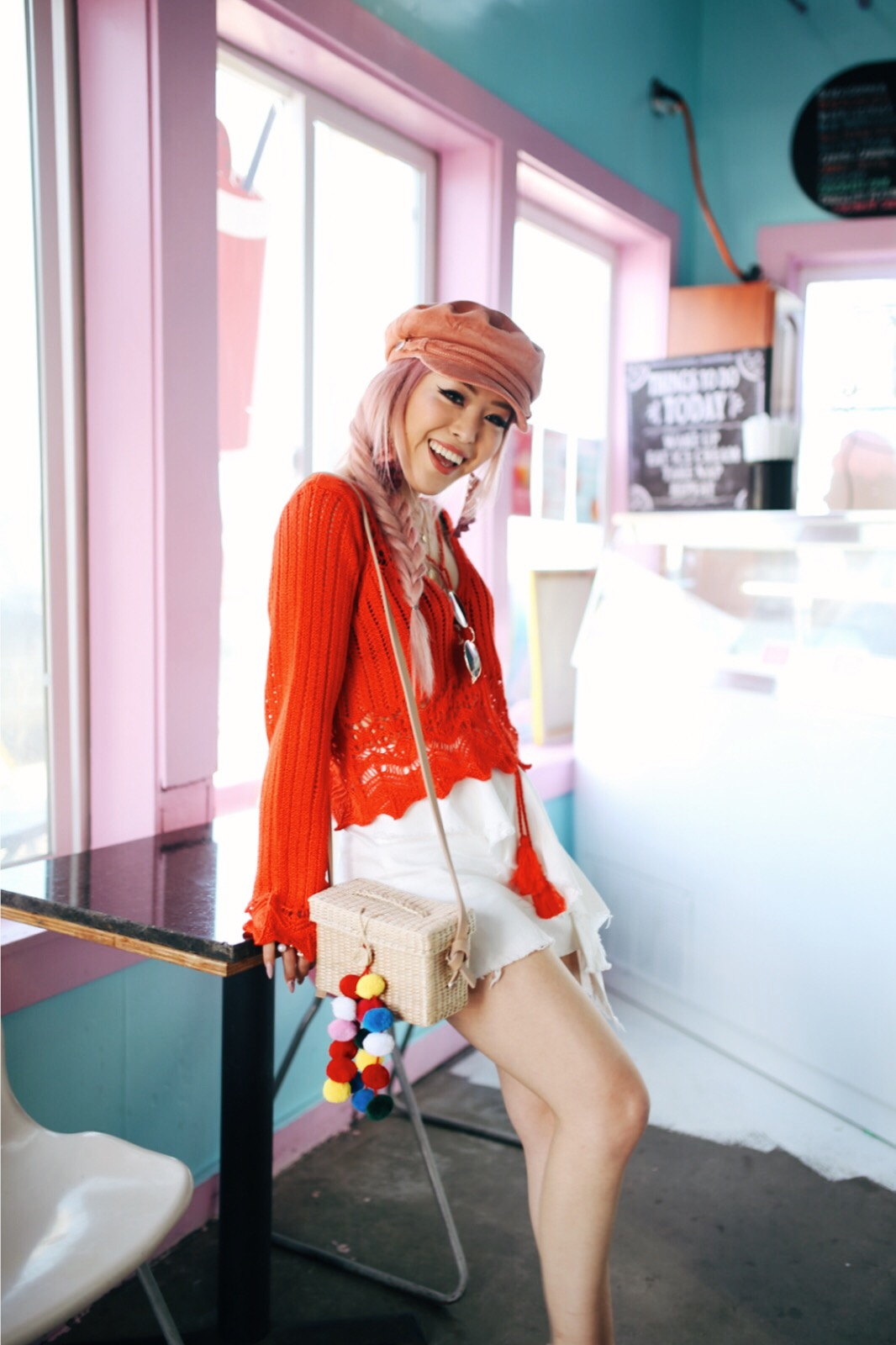 River Island Pink cord baker boy hat-Pink ombre tassel drop earrings-Red crotchet knit tassel crop top-White frill denim skort-White scallop block heel sandals-Shein Straw box bag with pom pom-Aikas Love Closet-Seattle Style Fashion Blogger-Japanese-Pink Hair-Side fishtail braid-summer style-smile 8