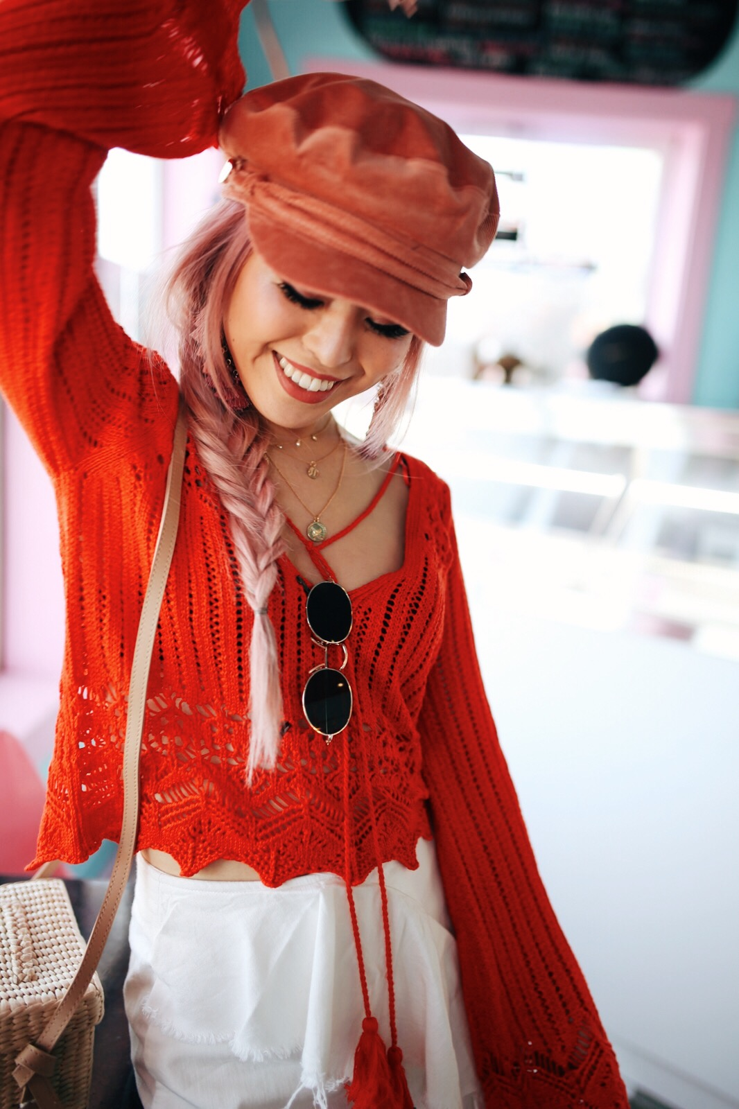 River Island Pink cord baker boy hat-Pink ombre tassel drop earrings-Red crotchet knit tassel crop top-White frill denim skort-White scallop block heel sandals-Shein Straw box bag with pom pom-Aikas Love Closet-Seattle Style Fashion Blogger-Japanese-Pink Hair-Side fishtail braid-summer style-smile 9