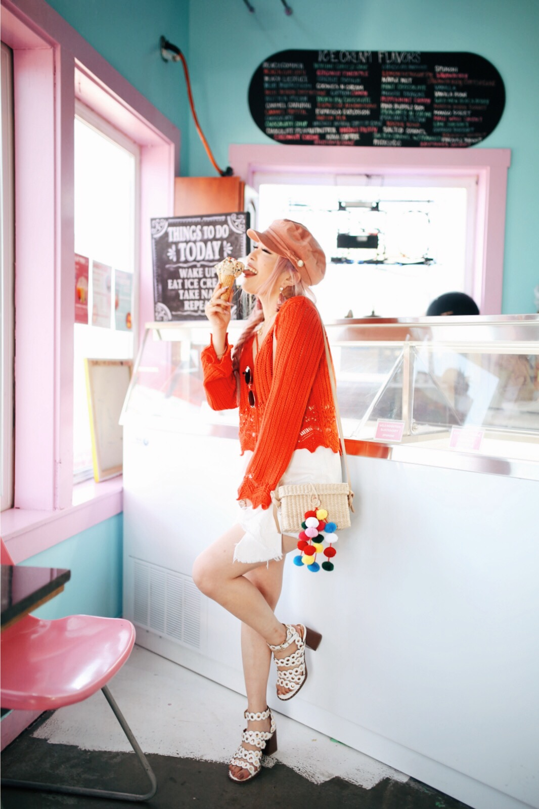River Island Pink cord baker boy hat-Pink ombre tassel drop earrings-Red crotchet knit tassel crop top-White frill denim skort-White scallop block heel sandals-Shein Straw box bag with pom pom-Aikas Love Closet-Seattle Style Fashion Blogger-Japanese-Pink Hair-Side fishtail braid-summer style-smile-Ice Cream