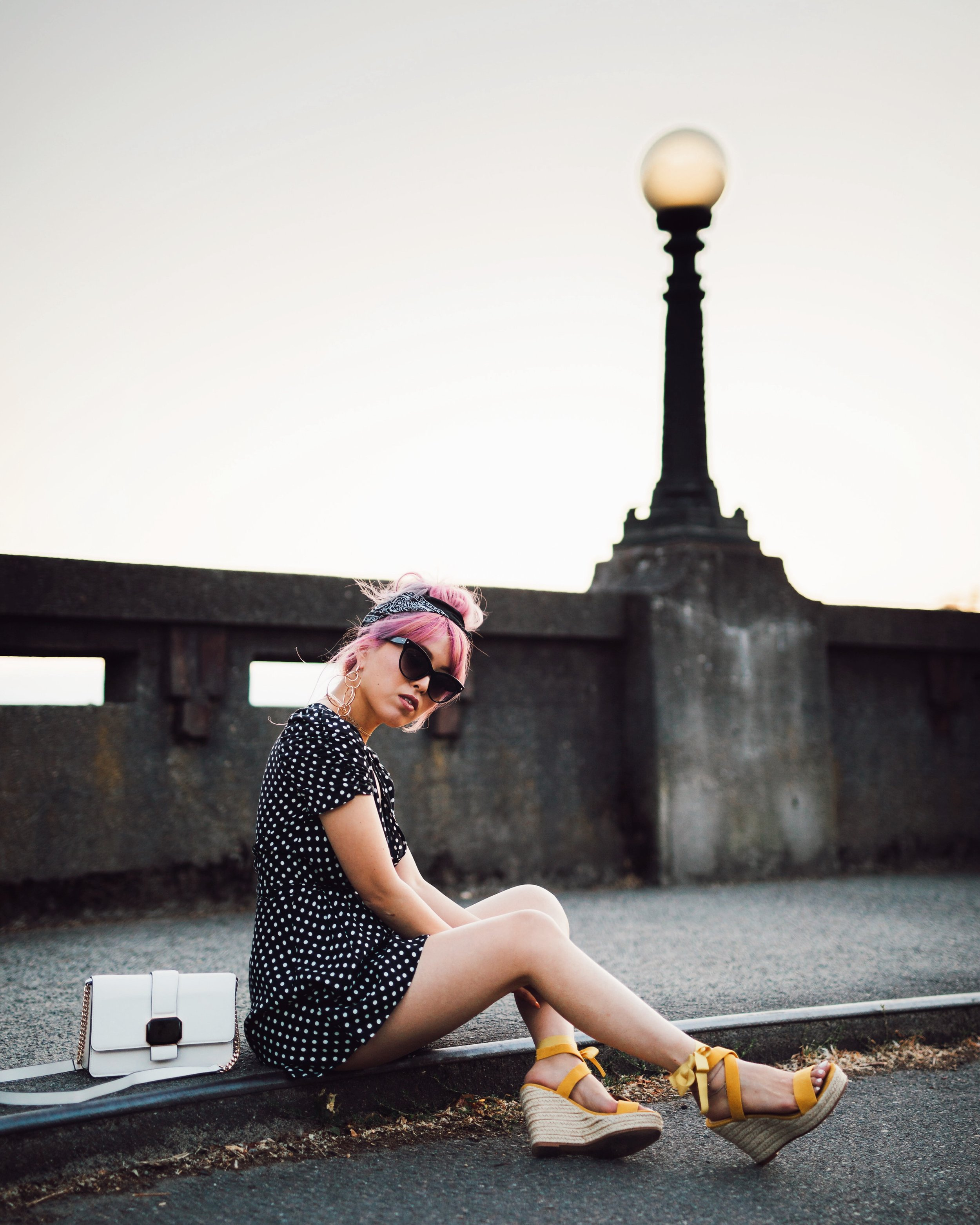 ASOS Polkadot Romper_Urban Outfitter Bandana_Zara Statement Earrings_H&M White Crossbody Bag_ShoeDazzle Yellow Lace up Wedge Sandals_Aikas Love Closet_Seattle Fashion Style Blogger_Japanese_Pink Hair_Street Snap_Summer Style_Messy bun updo 3