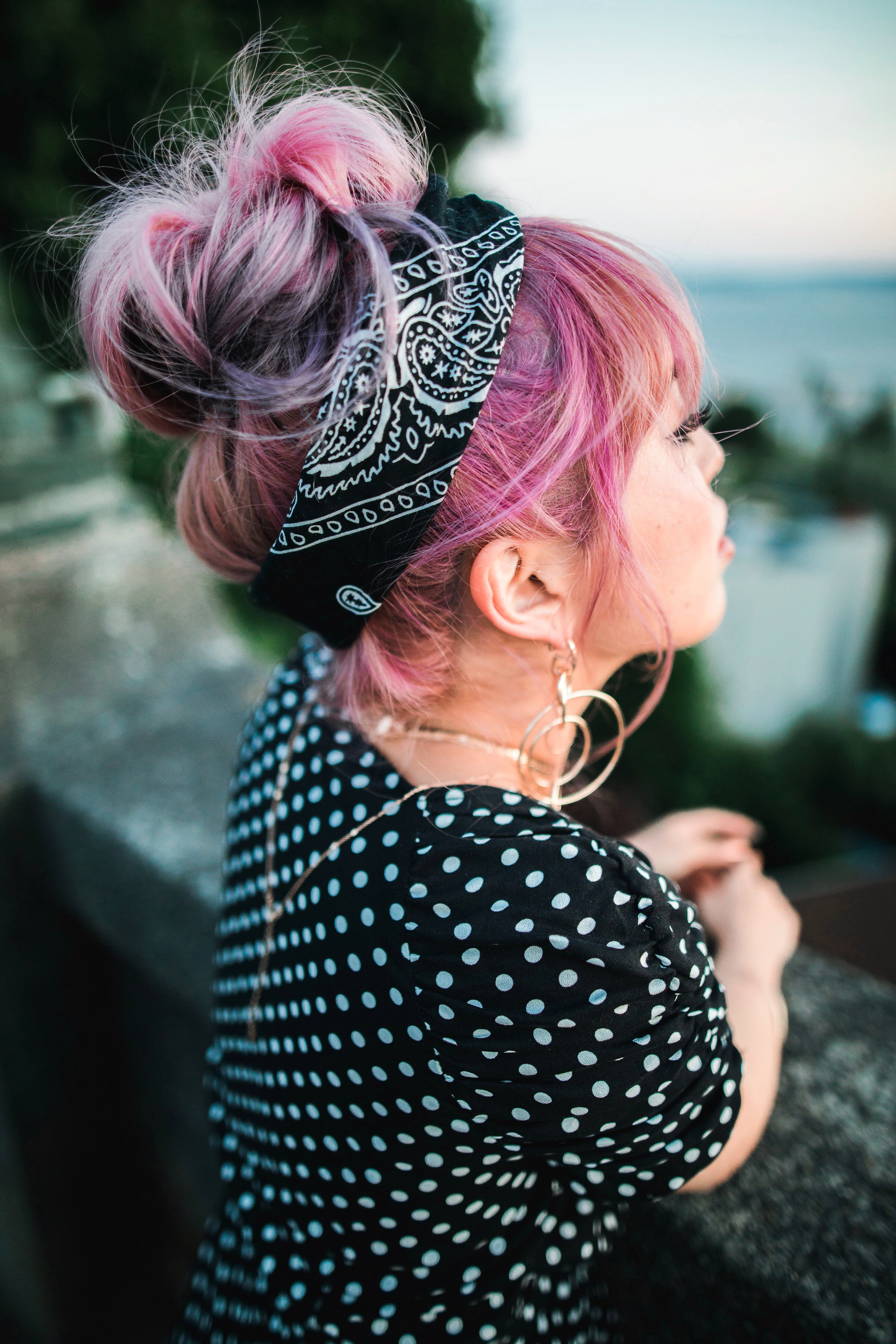 IMG_9322.JPGASOS Polkadot Romper_Urban Outfitter Bandana_Zara Statement Earrings_H&M White Crossbody Bag_ShoeDazzle Yellow Lace up Wedge Sandals_Aikas Love Closet_Seattle Fashion Style Blogger_Japanese_Pink Hair_Street Snap_Summer Style_Messy bun updo 8