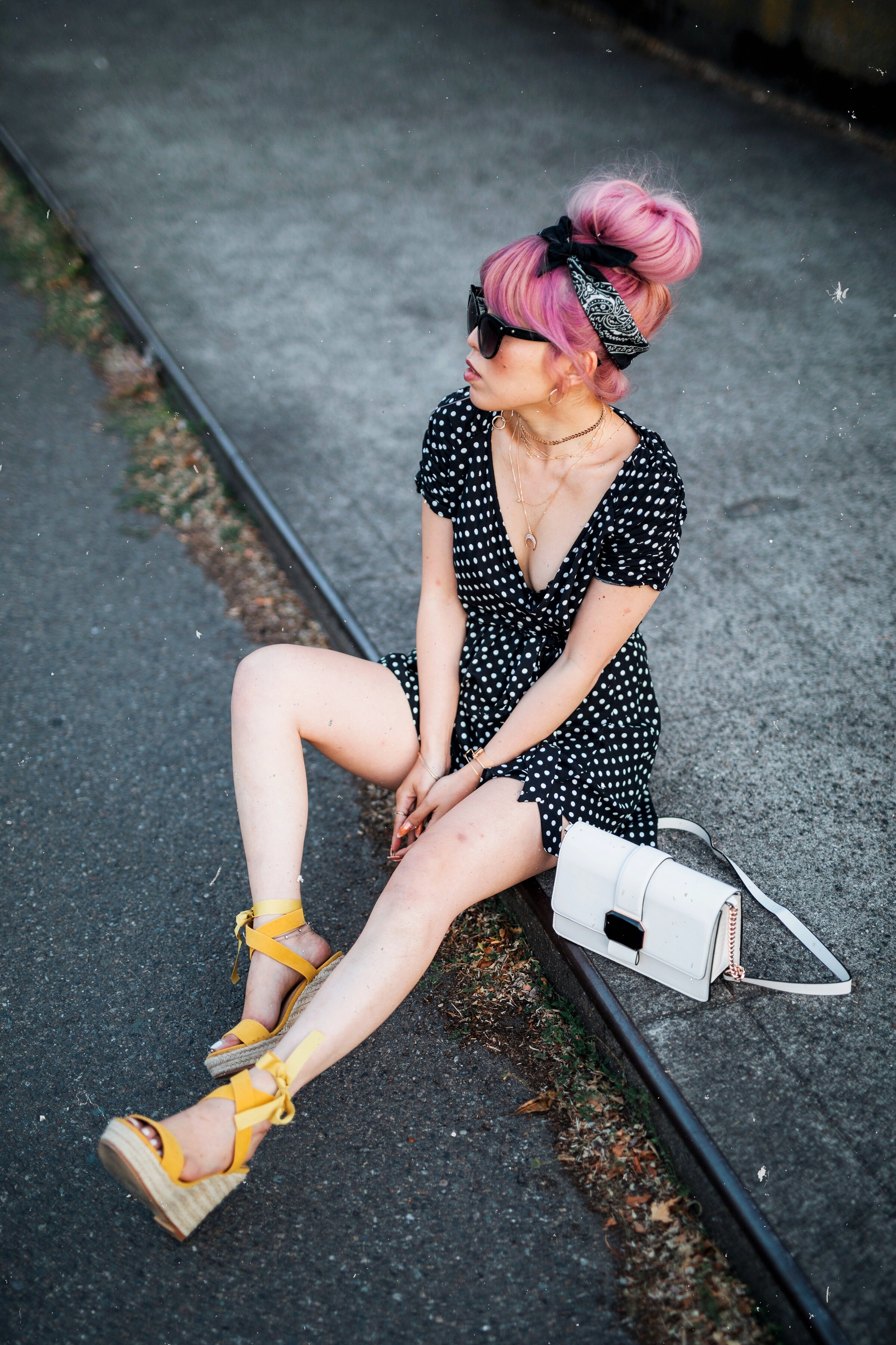 IMG_9322.JPGASOS Polkadot Romper_Urban Outfitter Bandana_Zara Statement Earrings_H&M White Crossbody Bag_ShoeDazzle Yellow Lace up Wedge Sandals_Aikas Love Closet_Seattle Fashion Style Blogger_Japanese_Pink Hair_Street Snap_Summer Style_Messy bun updo 10