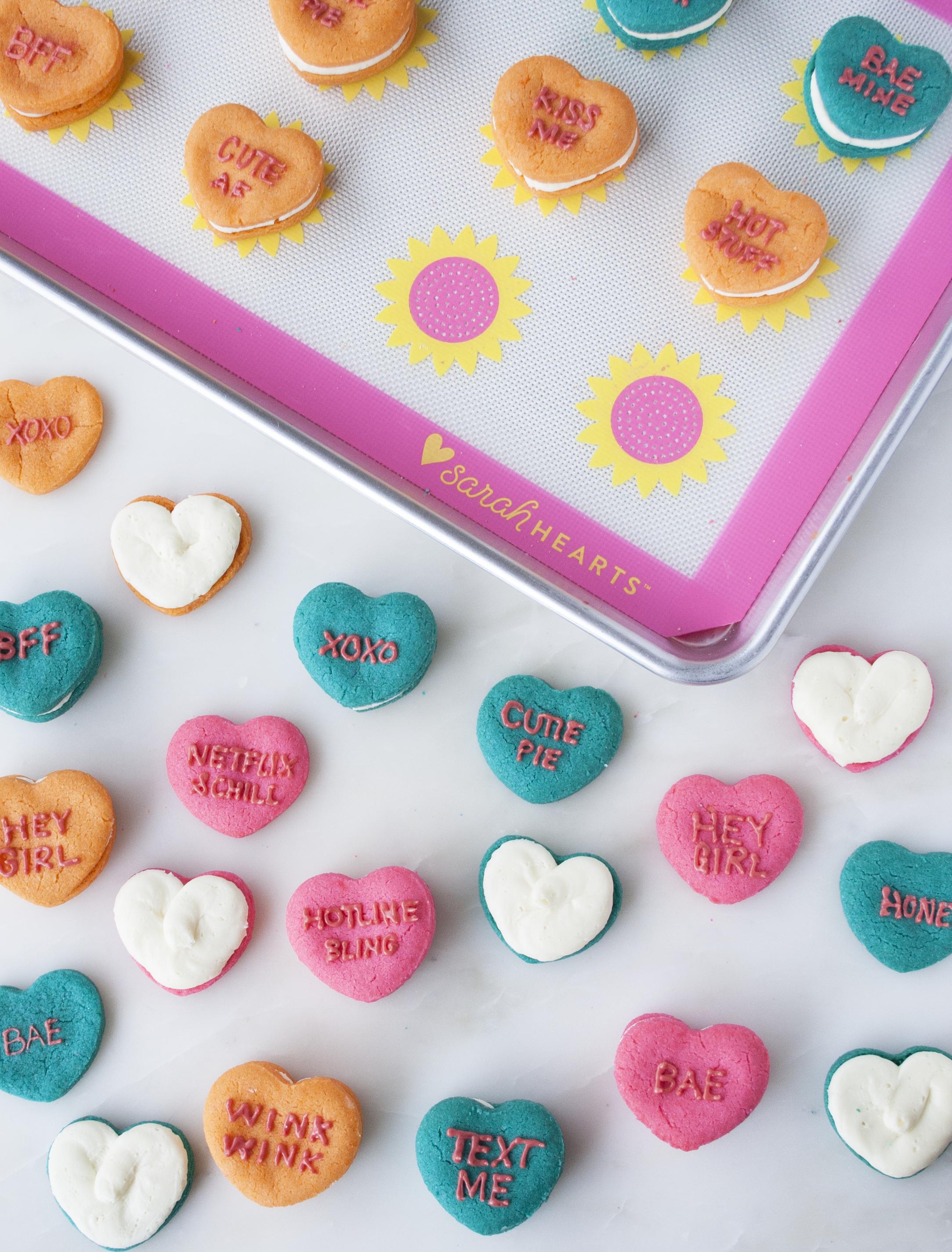 conversation heart sandwich cookies   sarah makes stuff