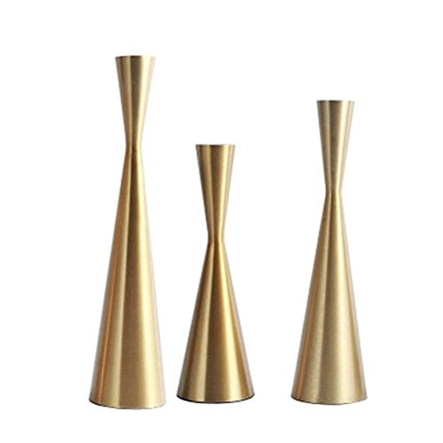 Gold Metal Tapered Candle Holders