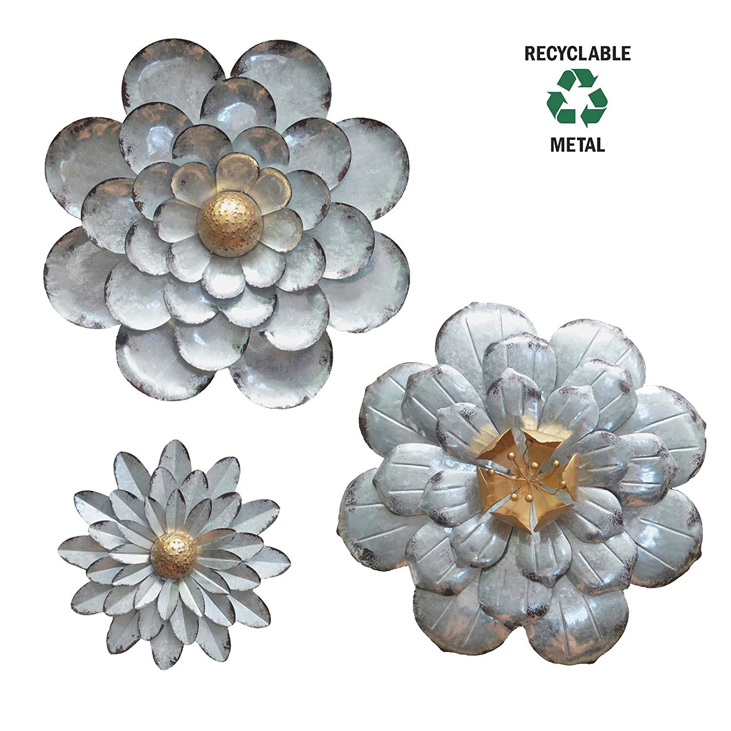 Galvanized Flowers Wall Décor Set of 3