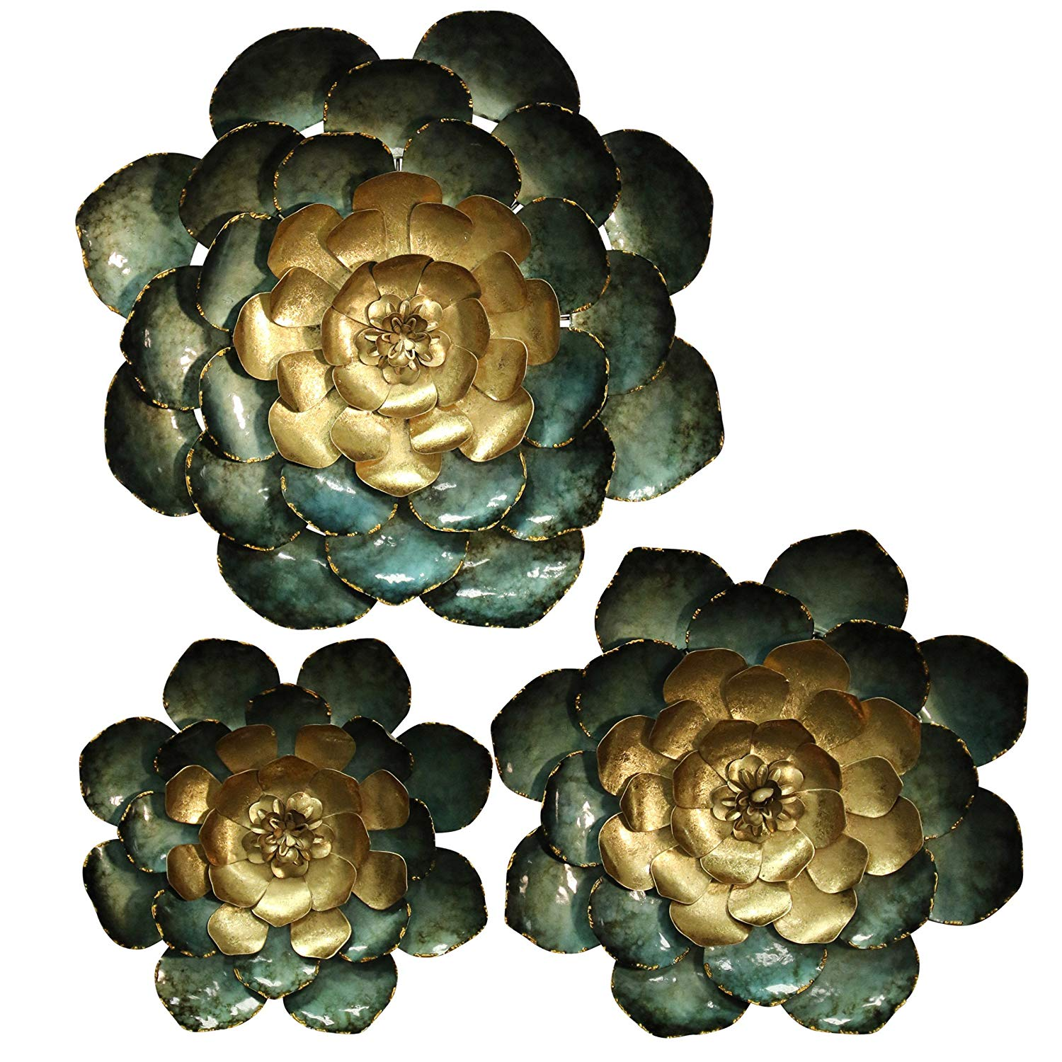 Set of 3 Metal Wall Sculptures in Blues & Gold