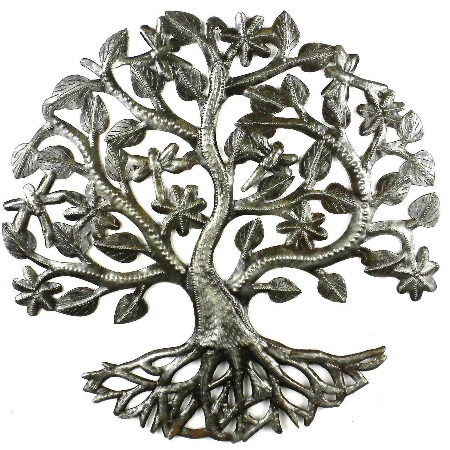 Tree of Life Dragonfly Metal Wall Art
