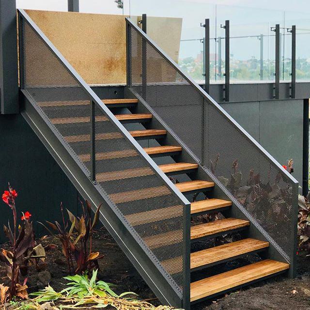 Staircase for a @modscapeaus display suite. Steel stringers, perforated balustrade and spotted gum treads. . . . . . . . #handmade #madeinmelbourne  #interiordesign #architecture #industrialdesign #iamnotmason #hospitalitydesign #design #melbournefurniture #spottedgum #balustrade #steel #staircase