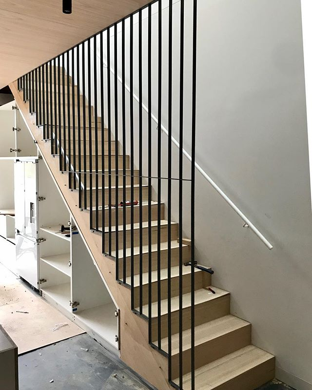 Fabrication, powder coating & install completed on the flat bar steel balustrade & tube handrail for @ha_arc . . . . . . . #handmade #madeinmelbourne  #interiordesign #architecture #industrialdesign #iamnotmason #hospitalitydesign #design #melbournefurniture #balustrade #steel
