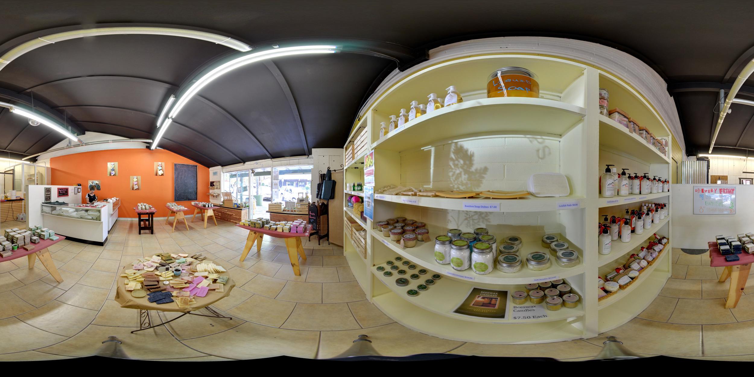 a 360 degree view of Whole Life Soaps. Photo Credit: Alekesy Volcheck @Volchekshot.me