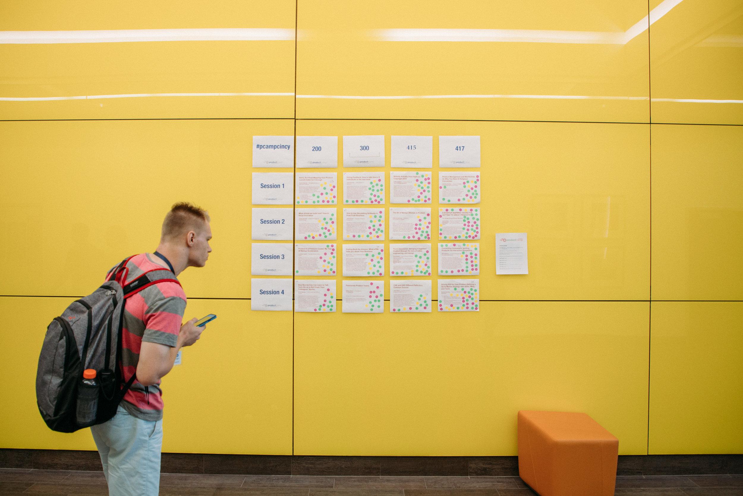 ProductCamp Cincinnati Speaker wall.JPG