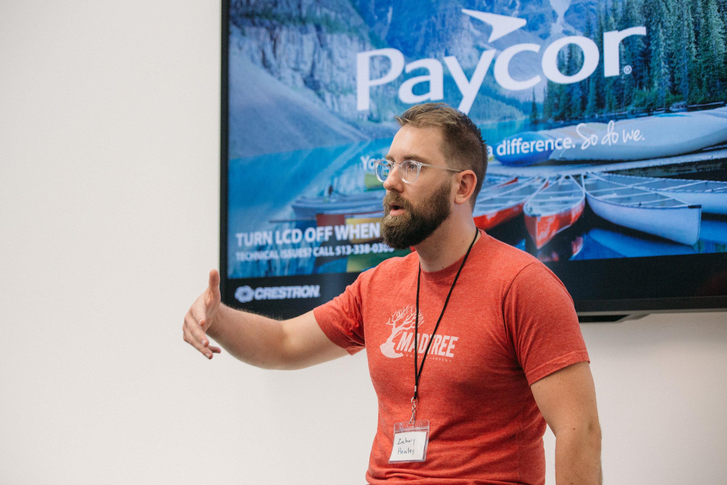 ProductCamp Cincinnati Zachary Hensley Speaking.JPG