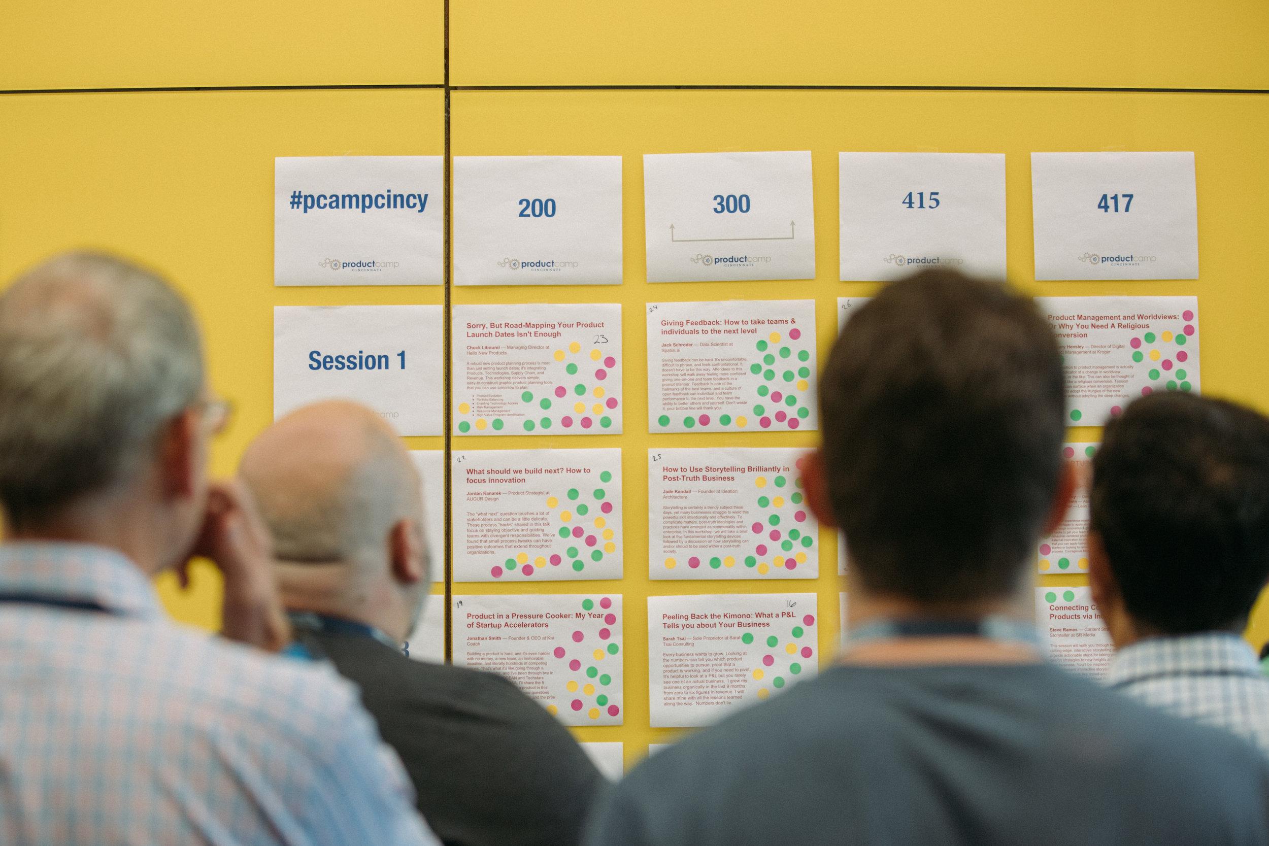 ProductCamp Cincinnati Speaker Wall Observing.JPG