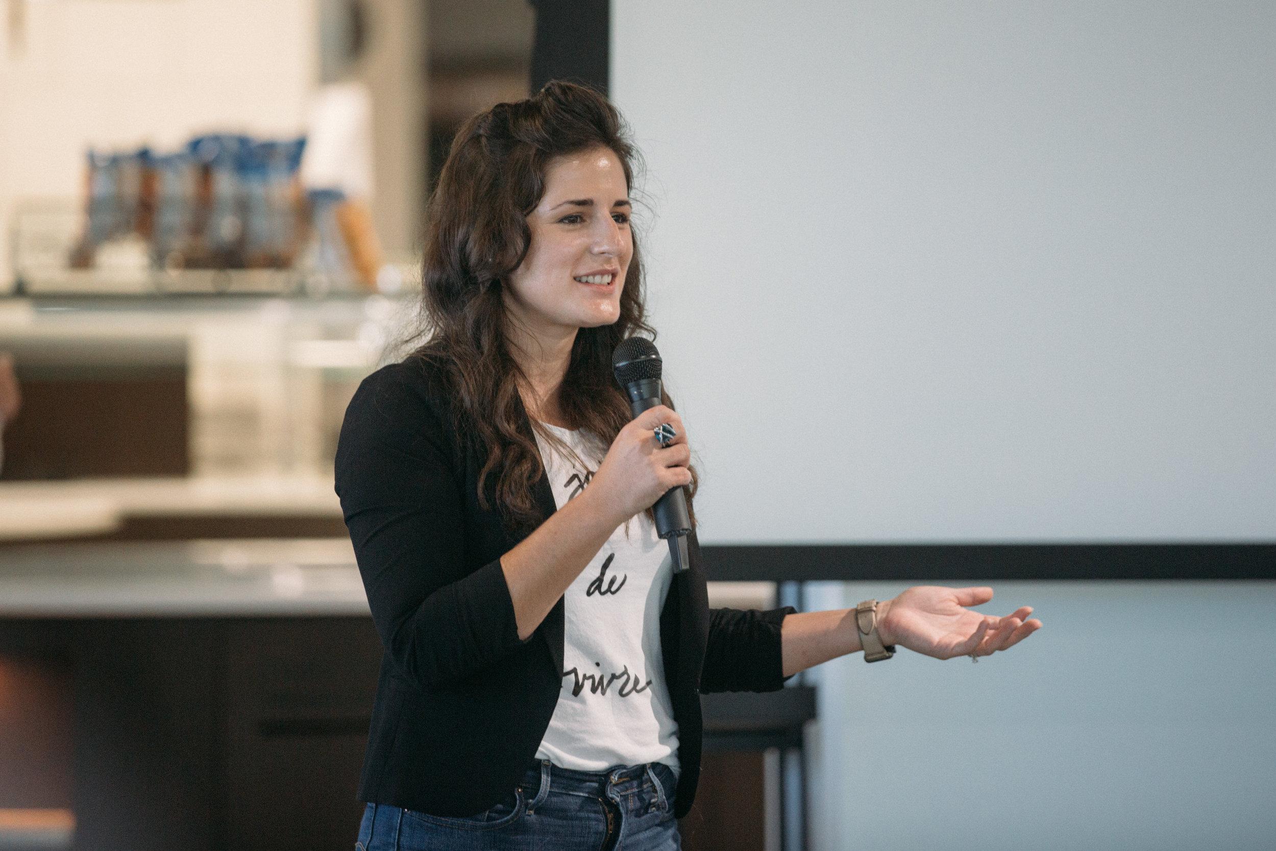 ProductCamp Cincinnati Lydia Henshaw Speaking 3.JPG