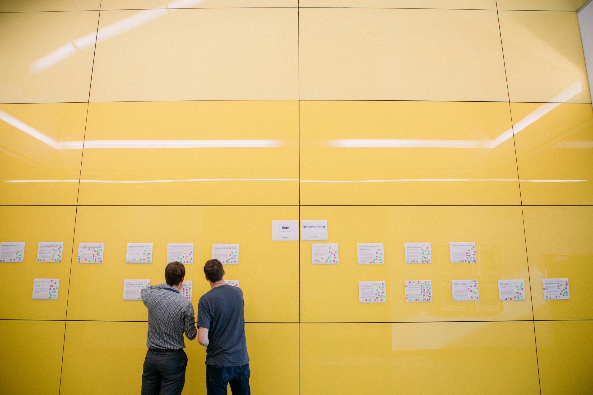 ProductCamp Cincinnati Speaker Wall Voting.JPG