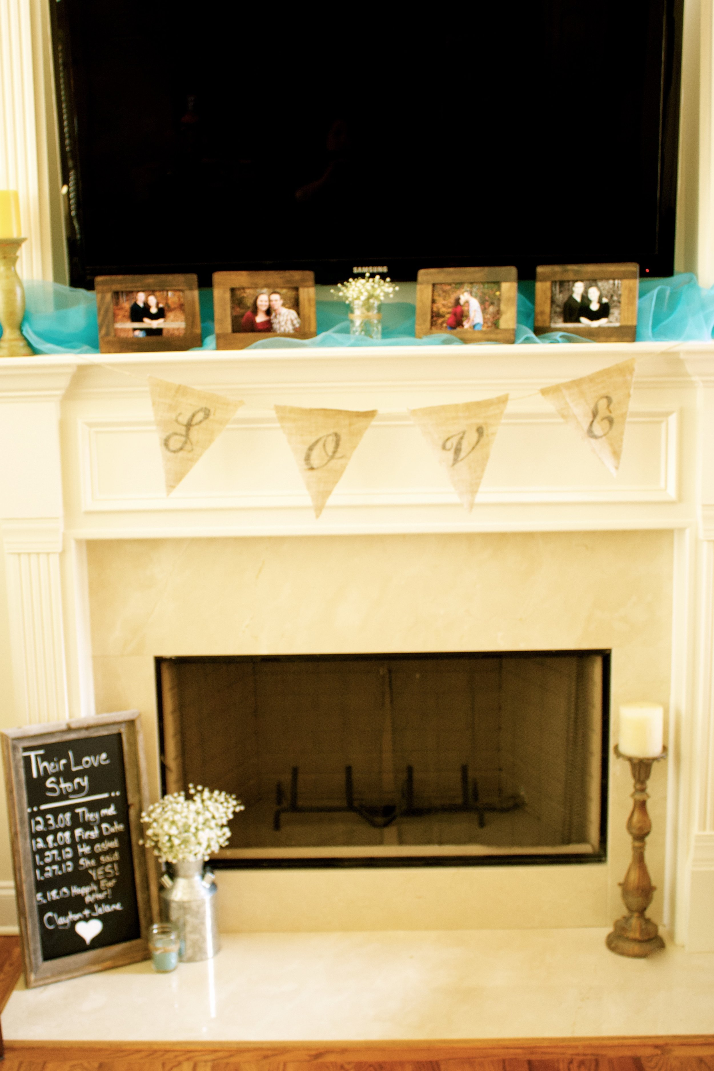 bridal-shower-mantle-decor