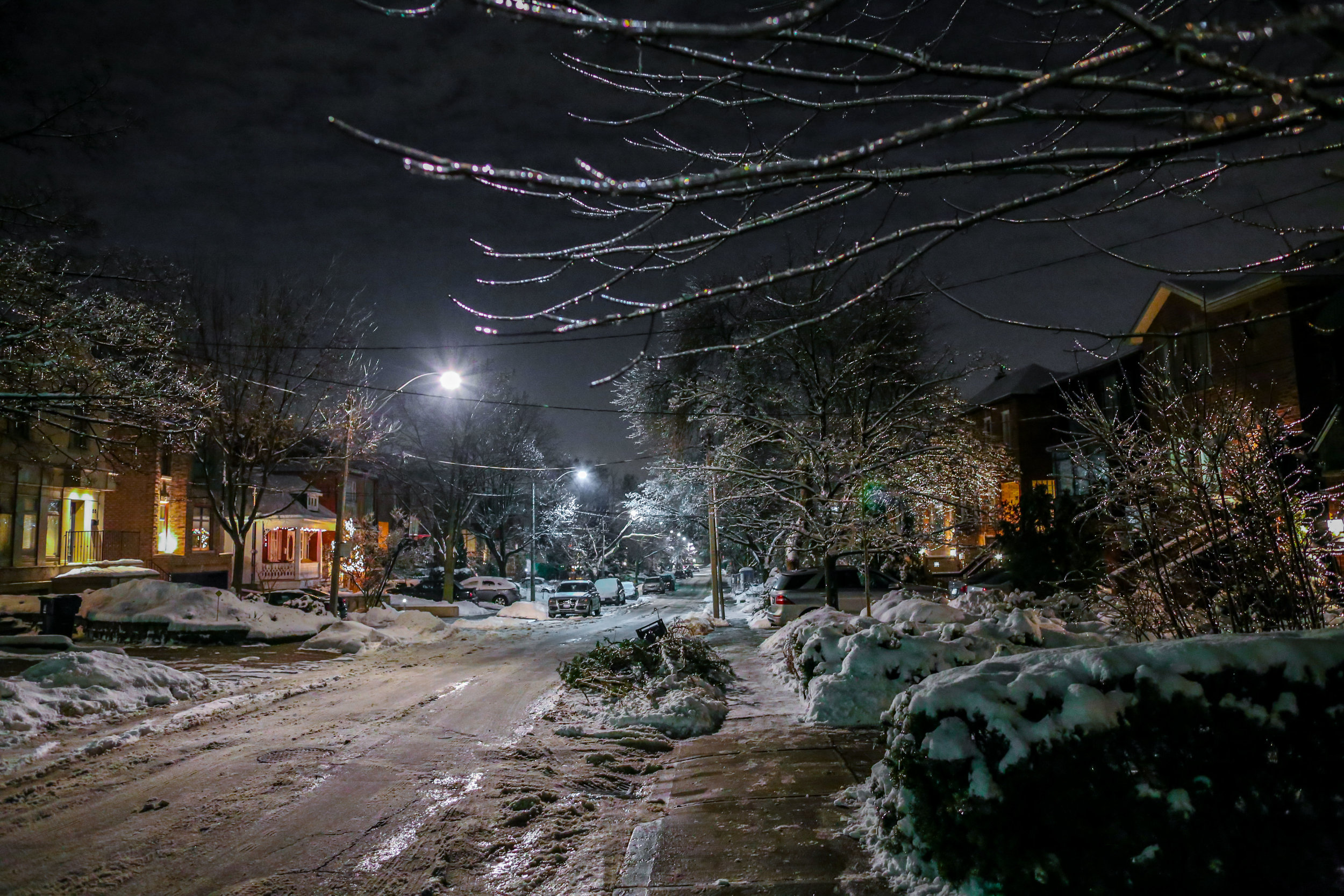 Toronto, Ontario street lit by bright LEDs after retrofitting.
