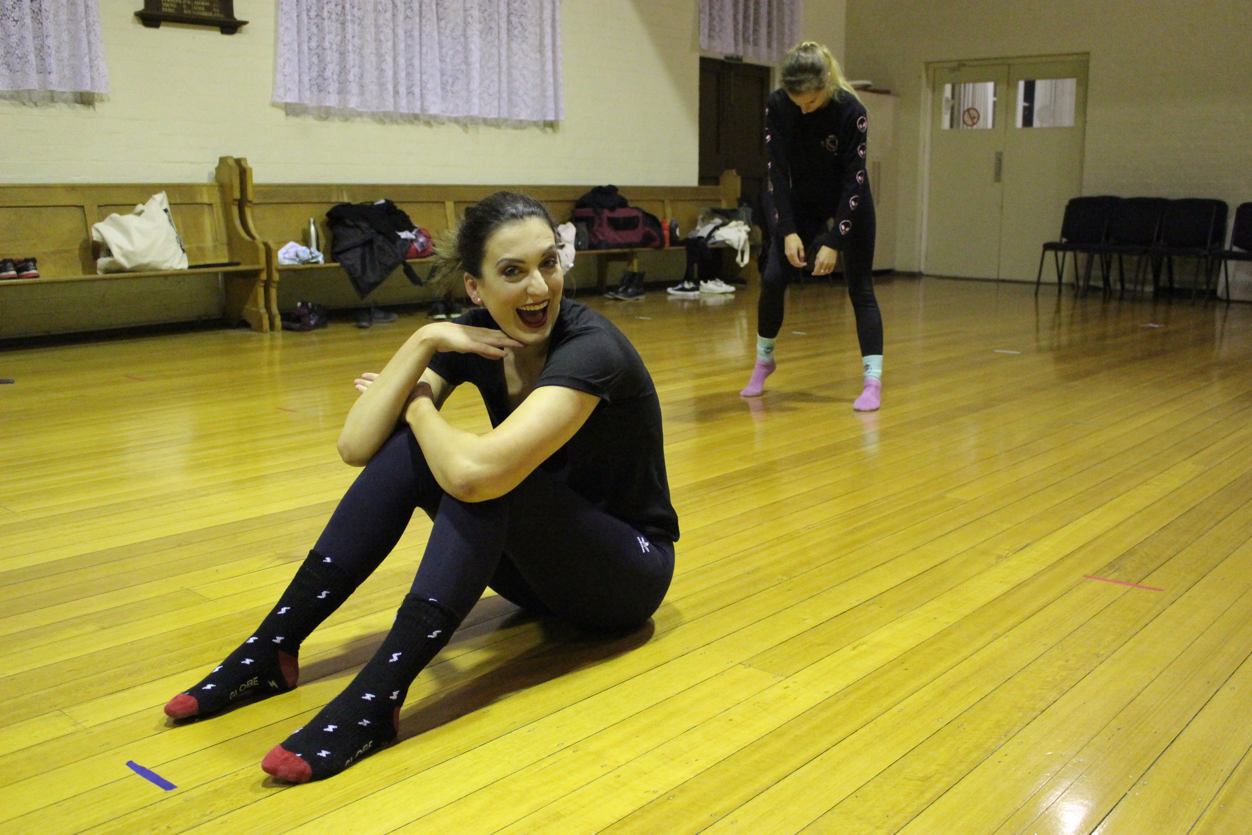 Megan Breguet having fun at rehearsals.