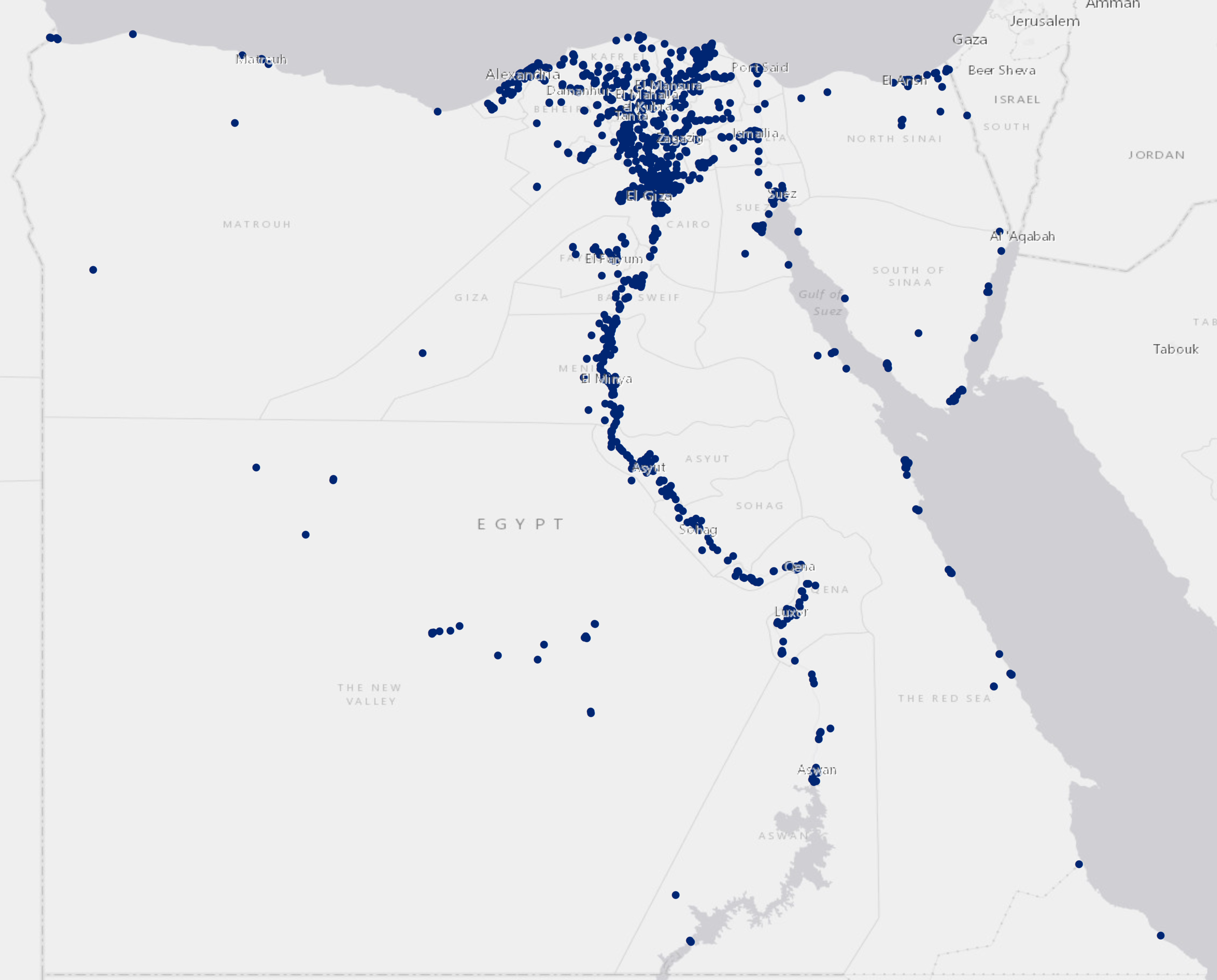 Location of protests in Egypt