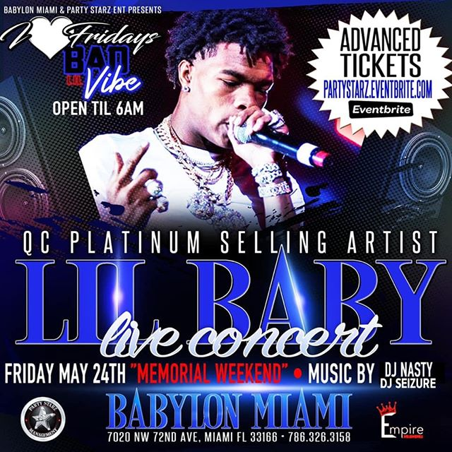 Memorial Weekend Lineup! Fri May 24 Lil Baby Performing LIVE at Babylon Miami Then Sunday May 26 Da Baby Comes Thru with a LIVE Performance at Babylon! Mark your calendars! You DOn't wanna miss out on these concerts! Tix now availbale on www.babylonmiami.com or Eventbrite. . . . #babylonmiami #babylonmiami305 #stripclub #miami #southbeach #ptsshowclub #playhousegentlemensclub #g5ive #pinkpony #boobytrapontheriver#theofficegentlemensclub #casanova #djseizure #djnasty305 #lilbaby #dababy #memorialweekend