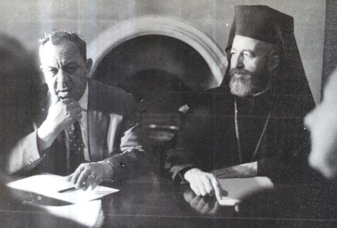 The first President, Archbishop Makarios (right) and the first Vice-President, Dr Fazıl Küçük (left) of the Republic of Cyprus