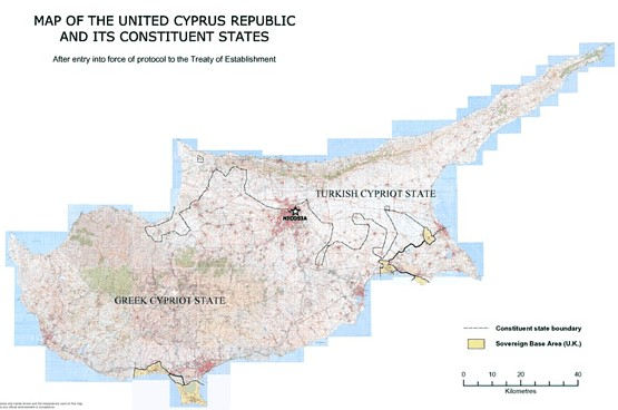 The map of the United Cyprus Republic according the Annan Plan
