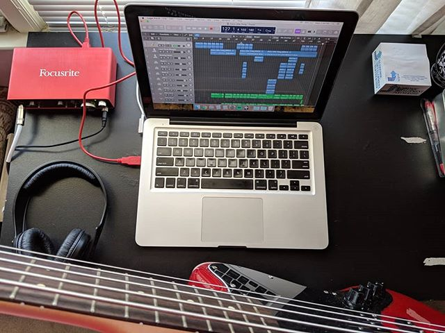 Been recording some bass this afternoon for a cover I've been working on. Coming soon! #bassguitar #bass #recording #music #musician #freelancemusician #freelance #freelancer #composer #cover #coversong #recordingsession #macbookpro #logicprox #focusrite @wearefocusrite #sessionmusician #fender @fender #fenderjaguarbass #5string #5stringbass