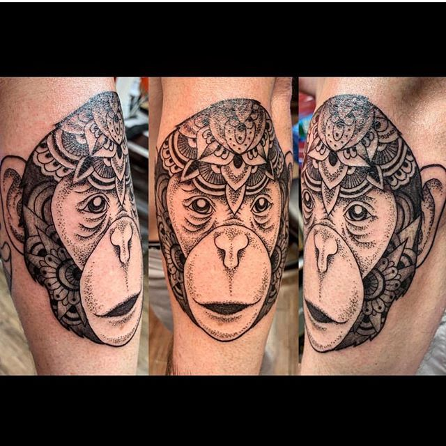 ❤️ #mandalatattoo #animalmandala #monkeytattoo #thebesttattooartists #inkedmag #tattoobyyoung