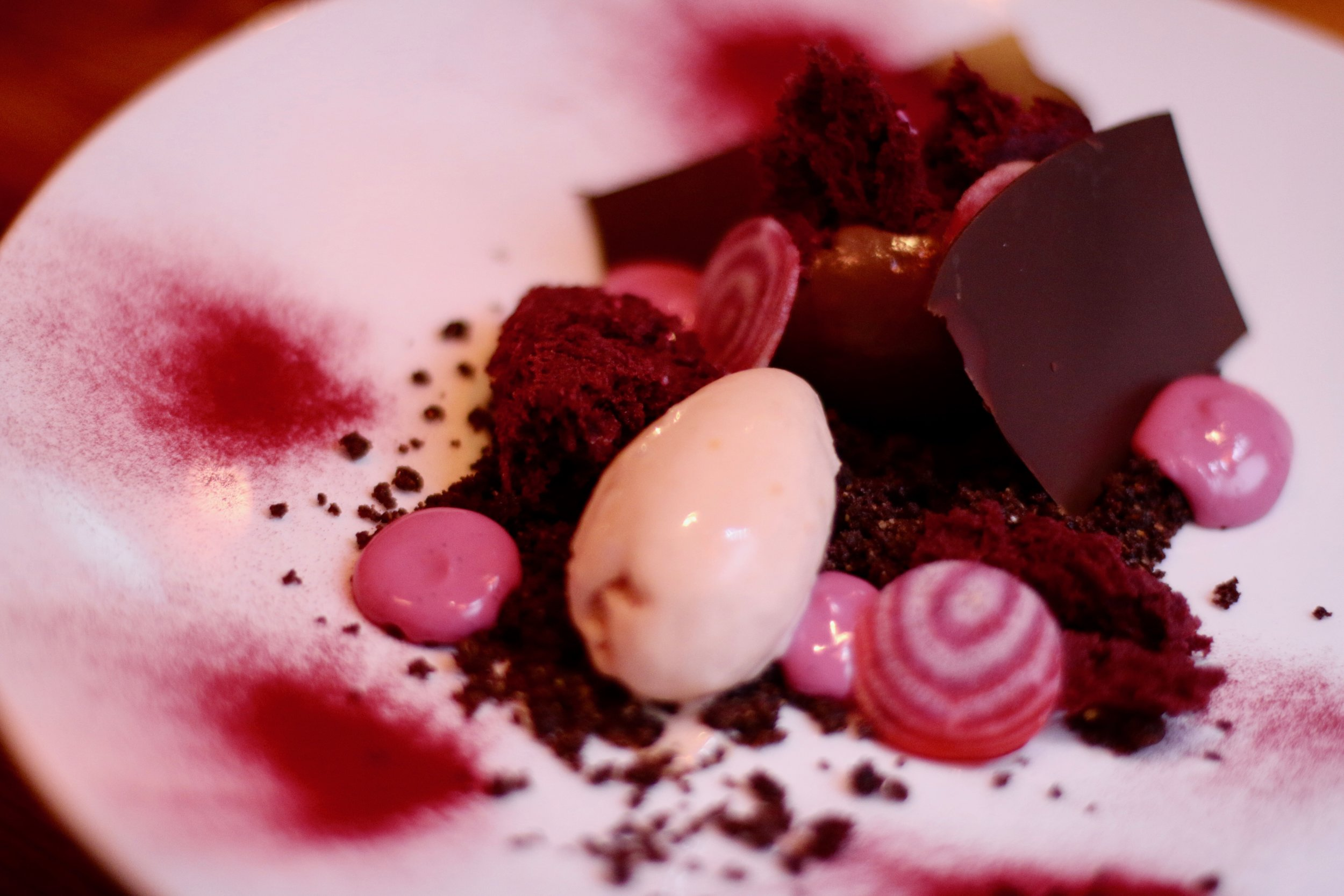 Chocolate cremeux with beetroot