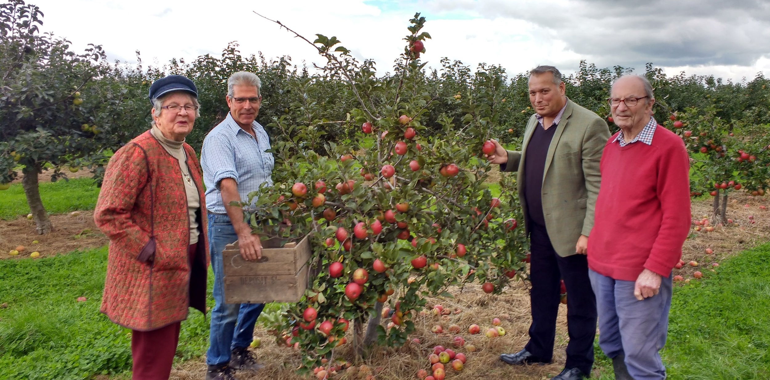 Mr & Mrs Clifton Brown, our Orchard Manager Roger and MP David Warburton