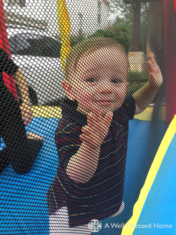 Beckham in bounce house