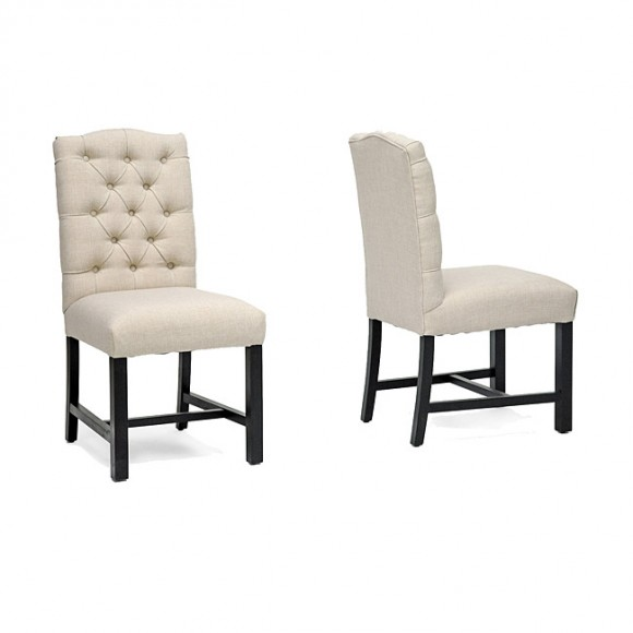Pearsall Beige Linen Dining Chairs