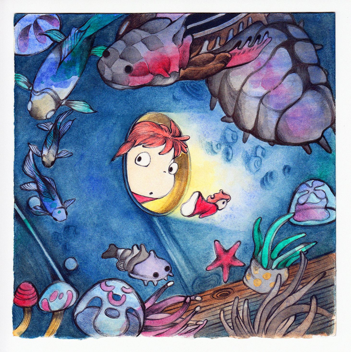 """""""Curious Ponyo"""" - Watercolour, Ink and Pen on Arches Aquarelle paper, 180mm x 180mm (SOLD)"""