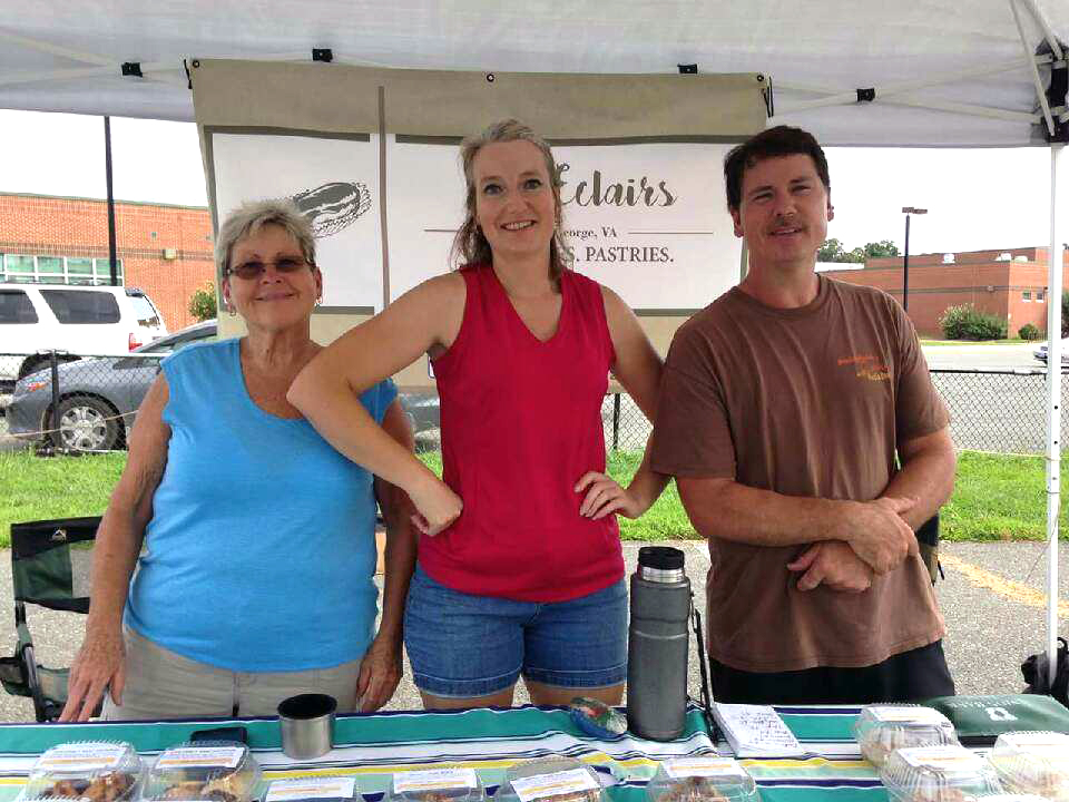 From left to right; Virginia's mother-in-law Janice Burchell, Virginia herself, and her husband Howard Burchell at the King George Farmer's Market.