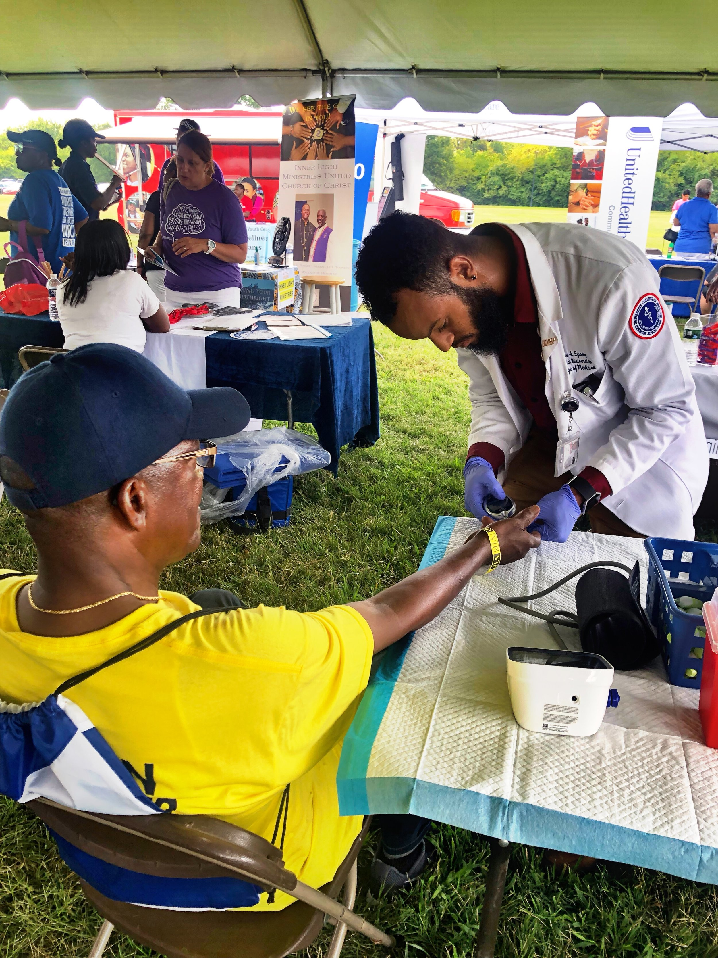 DC Community Day Health and Wellness Fair - HUCM students helped pack bags of fresh produce that were distributed for free to the community at the Health Fair and also completed blood pressure checks and glucose screenings for individuals who attended the health fair! After obtaining the readings for each test, participants were handed a sheet with their results, the specific ranges that health care professionals look for and what each range means in regards to individual health status. The info-graphic also contained instructions on to improve or maintain a healthy status in regards to their blood pressure and glucose maintenance.