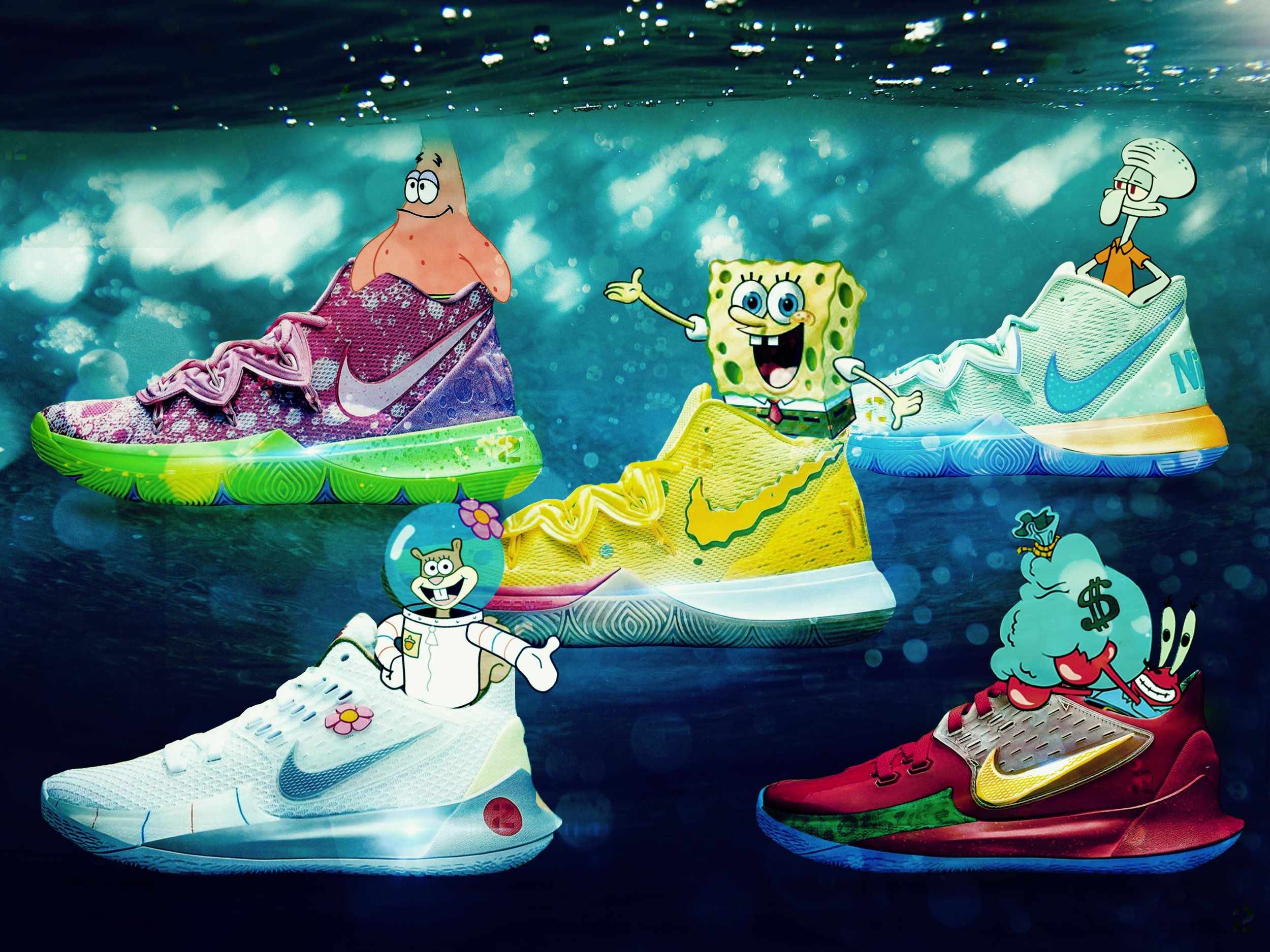 @kyrieirving x @spongebob Nike collab drops Aug. 10th ❗ ❗ which one's your favorite? Comment below 👇🏾 .