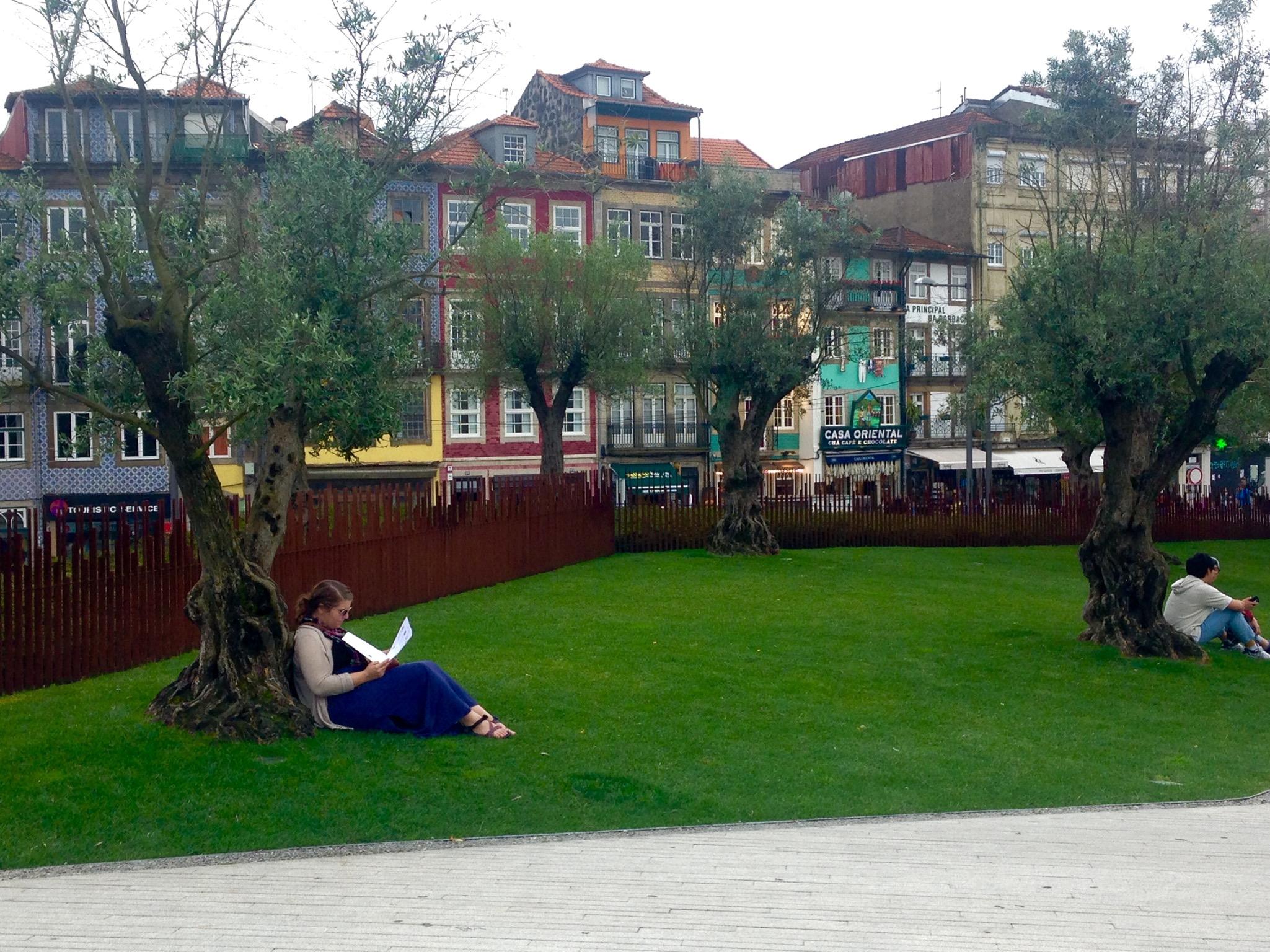 Alyssa reading outside Liveria Lello
